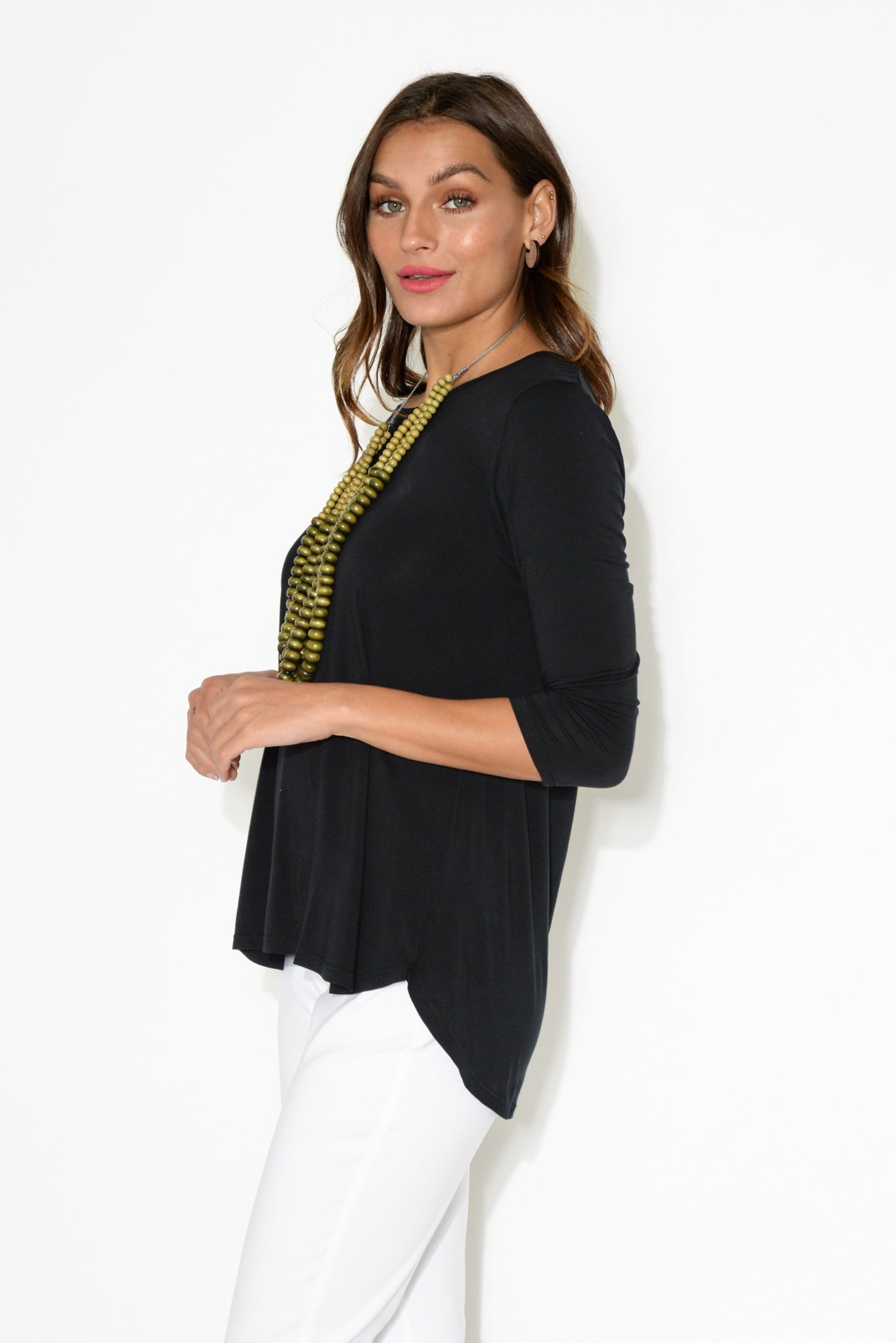 Black 3/4 Sleeve Modal Hi Lo Top
