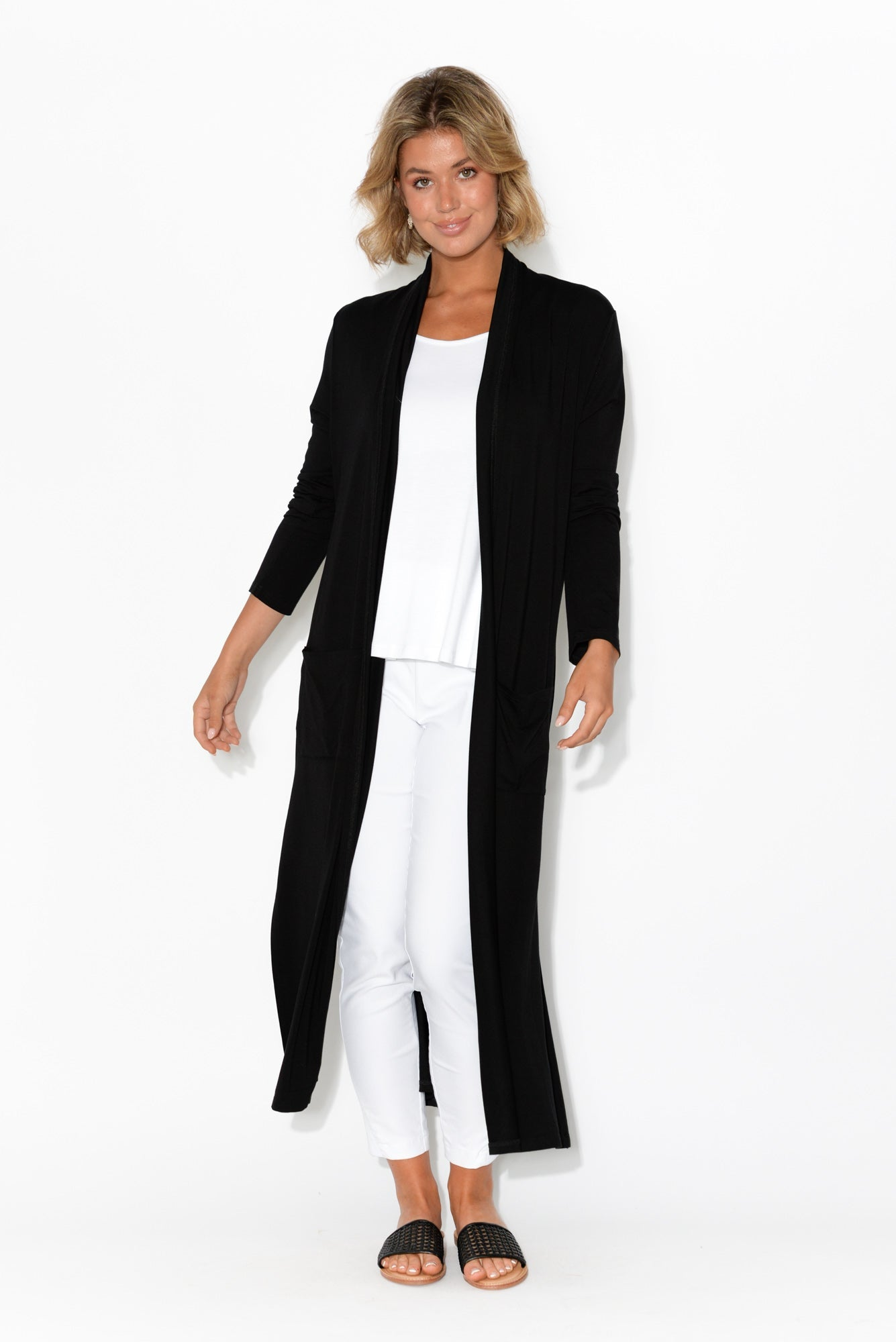 Black Bamboo Pocket Cardigan