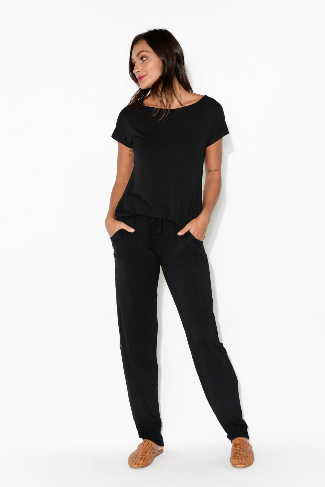 Black Bamboo Pocket Pants