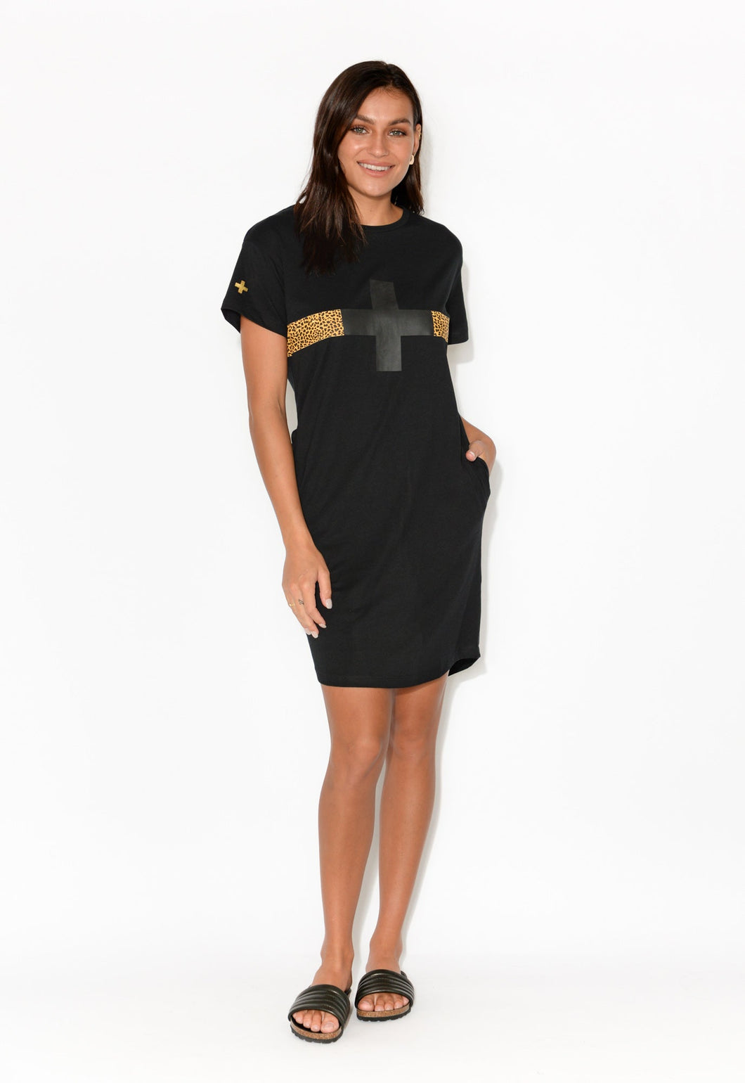 Black Cheetah Pocket Tee Dress