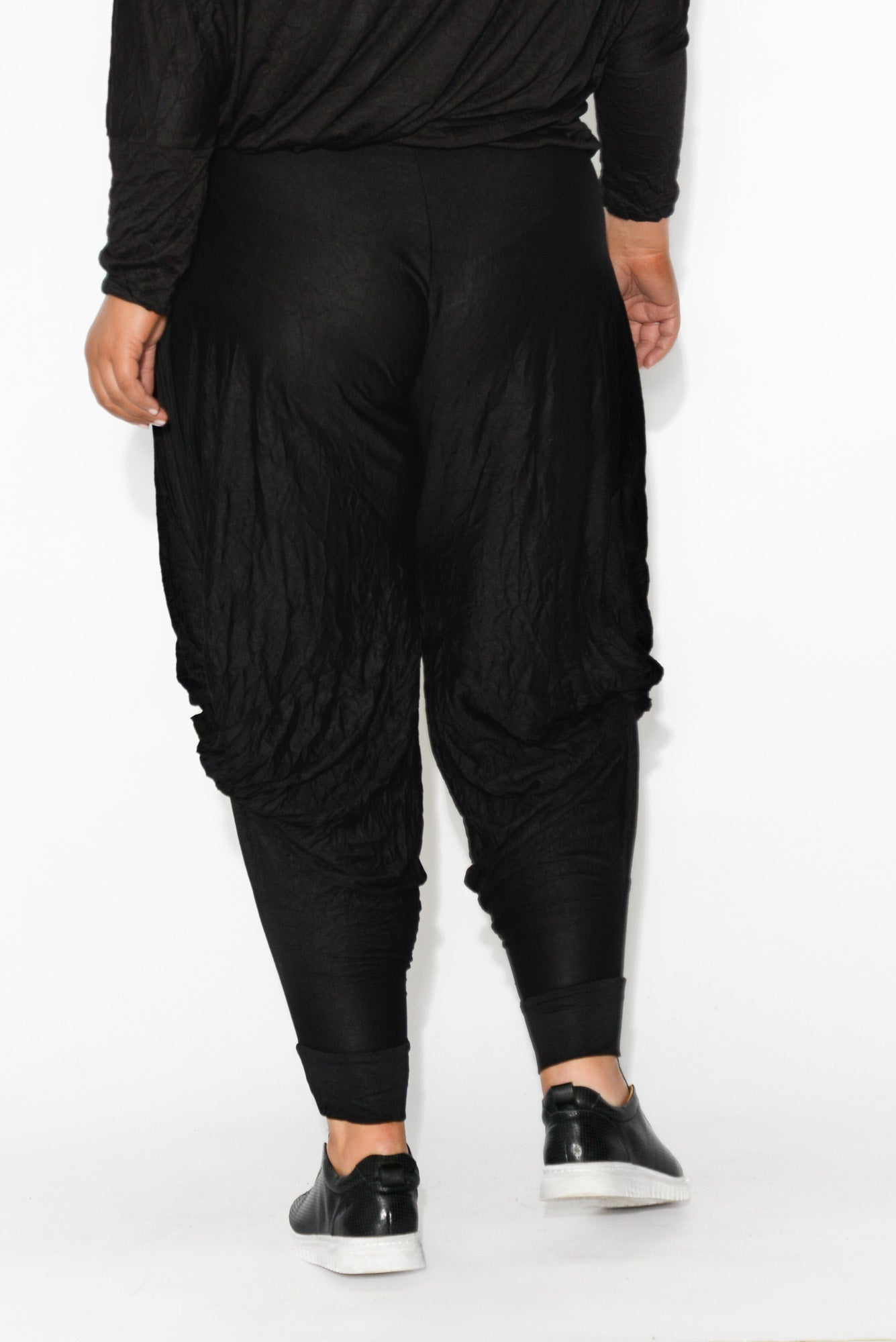 Black Crinkle Cotton Cloud Pant