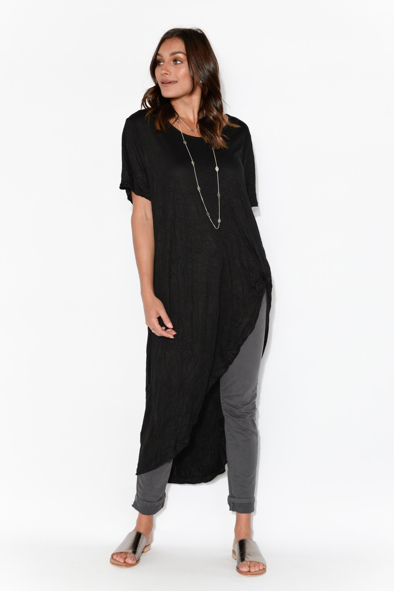 Black Crinkle Cotton Curved Hi Lo Tunic