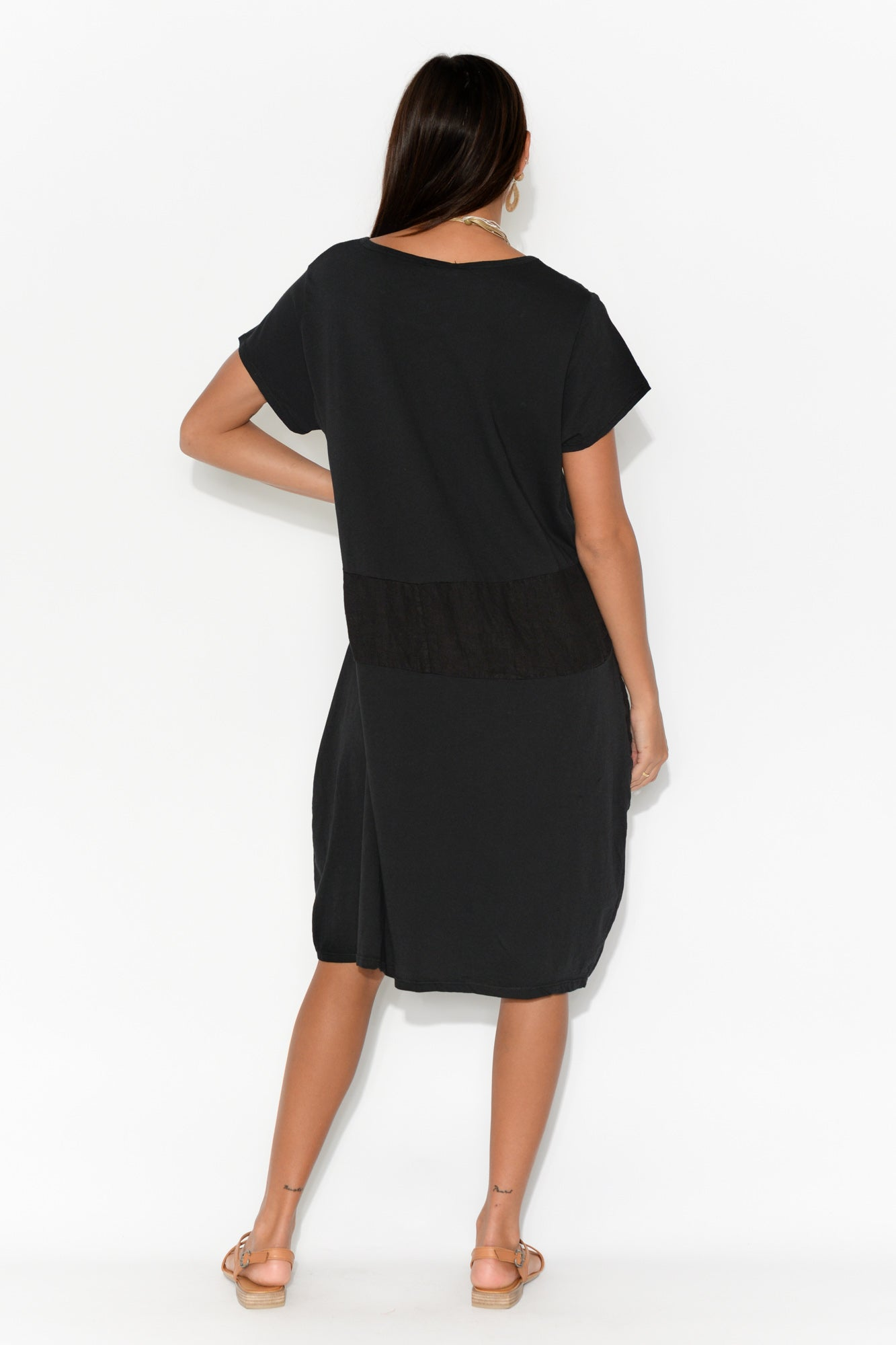 Black Linen Panel Cotton Dress