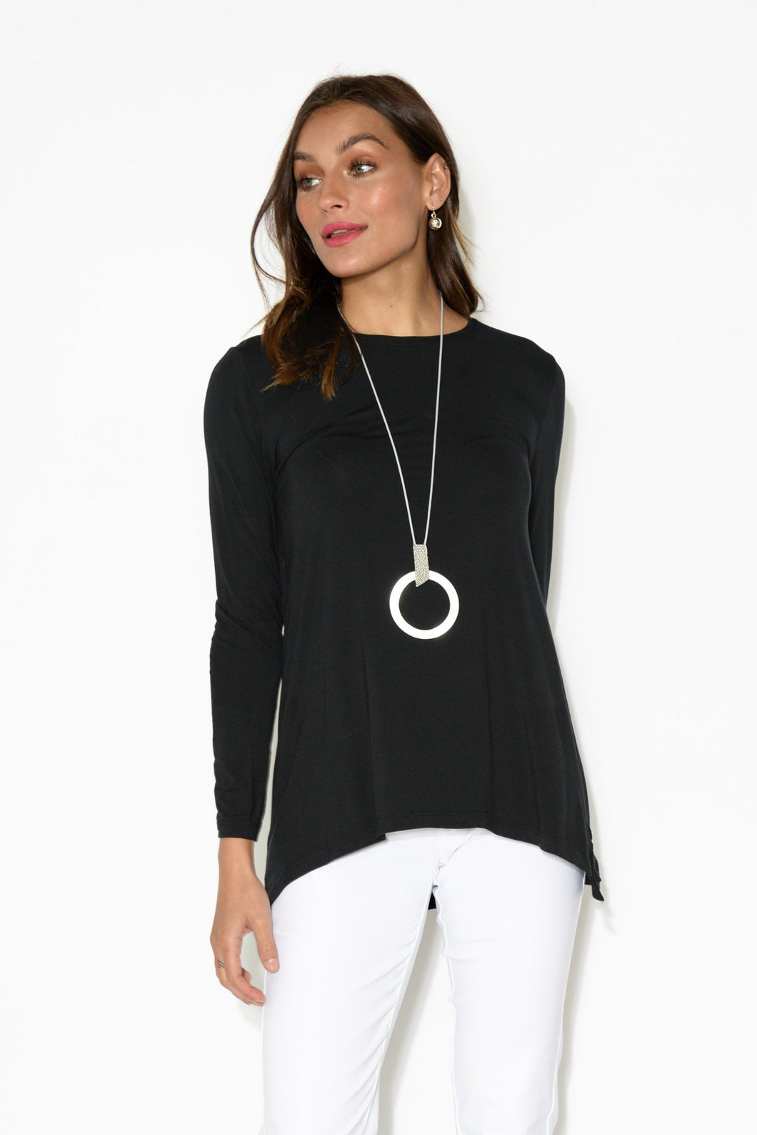 Black Long Sleeve Modal Swing Top