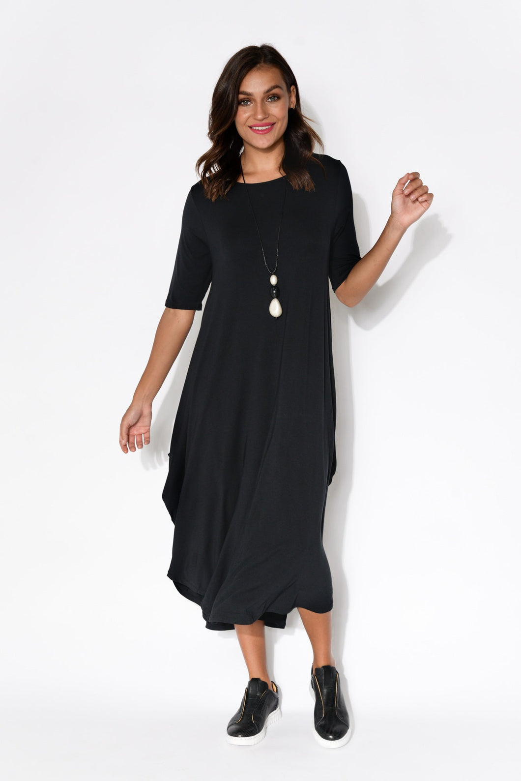 Black Modal Tri Drape Dress