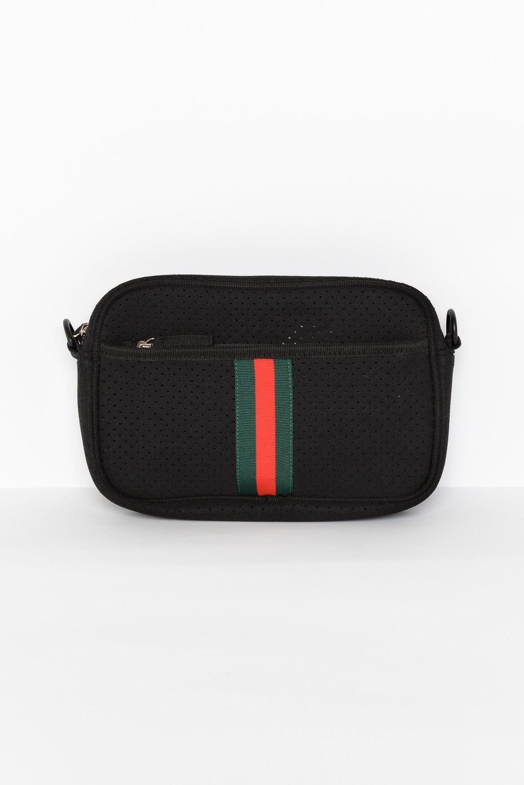 Black Stripe Neoprene Crossbody Bag
