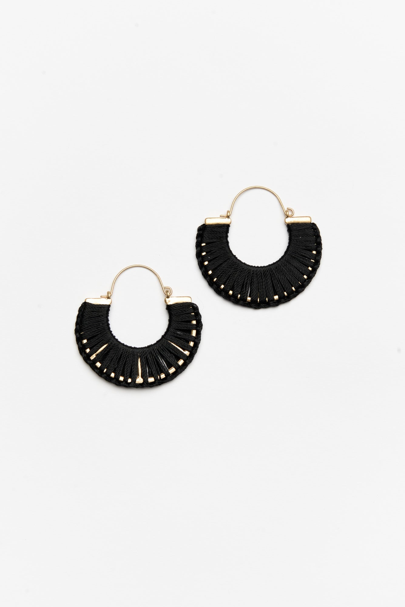 Alexia Black Woven Half Circle Earring