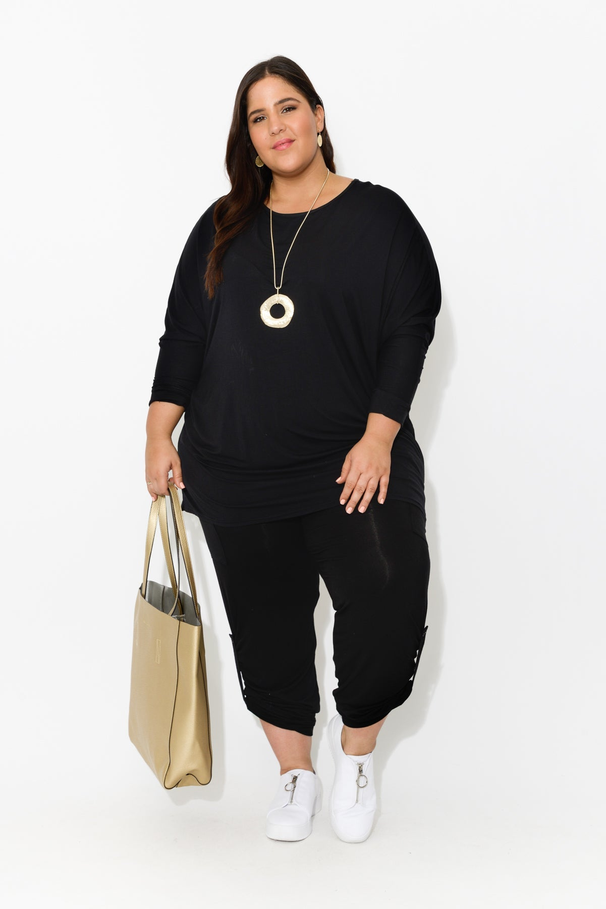 plus-size,curve-bottoms,curve-basics,Black Bamboo Pocket Pants - Blue Bungalow