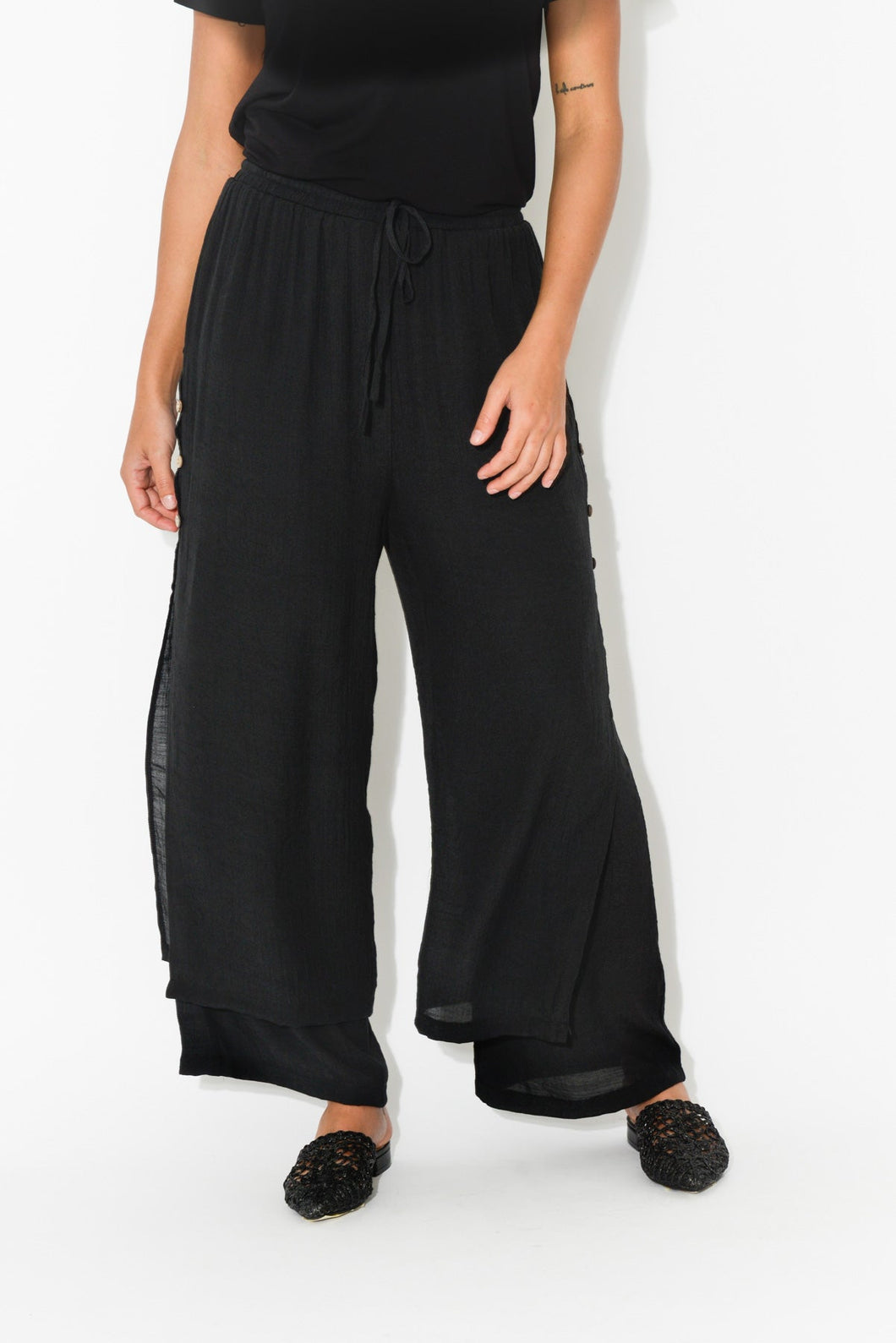 Black Layered Wide Leg Pant - Cali and Co - Blue Bungalow Online