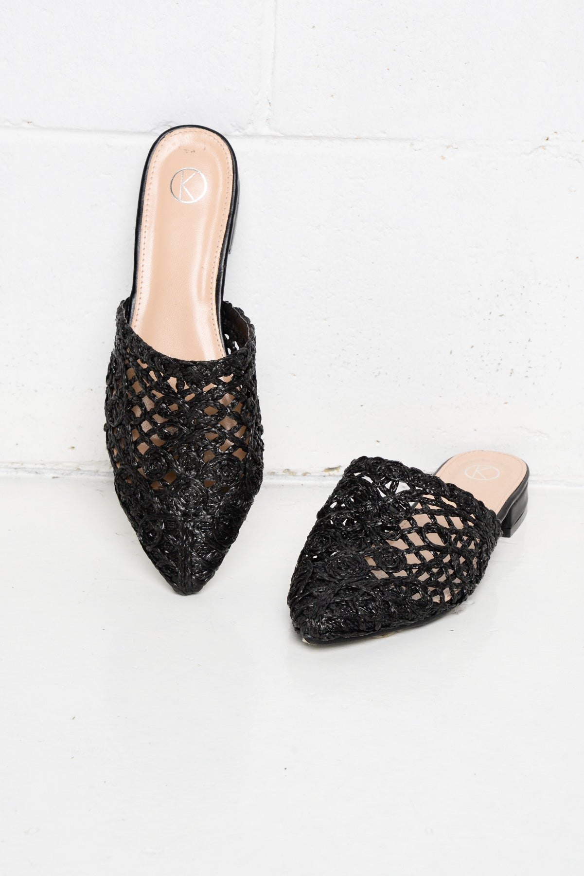 Black Open Weave Mule - Blue Bungalow