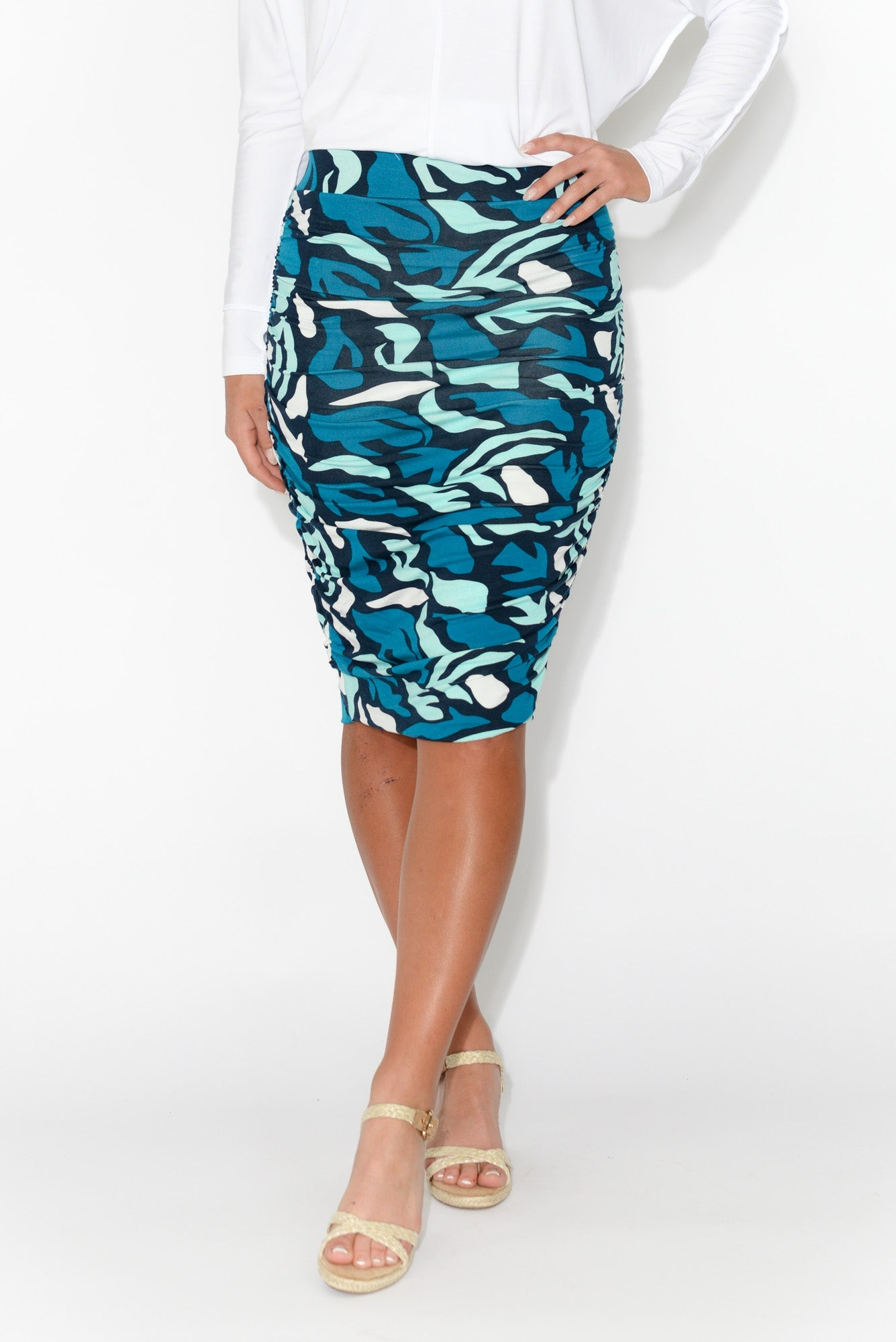 Blue Abstract Bamboo Ruched Skirt