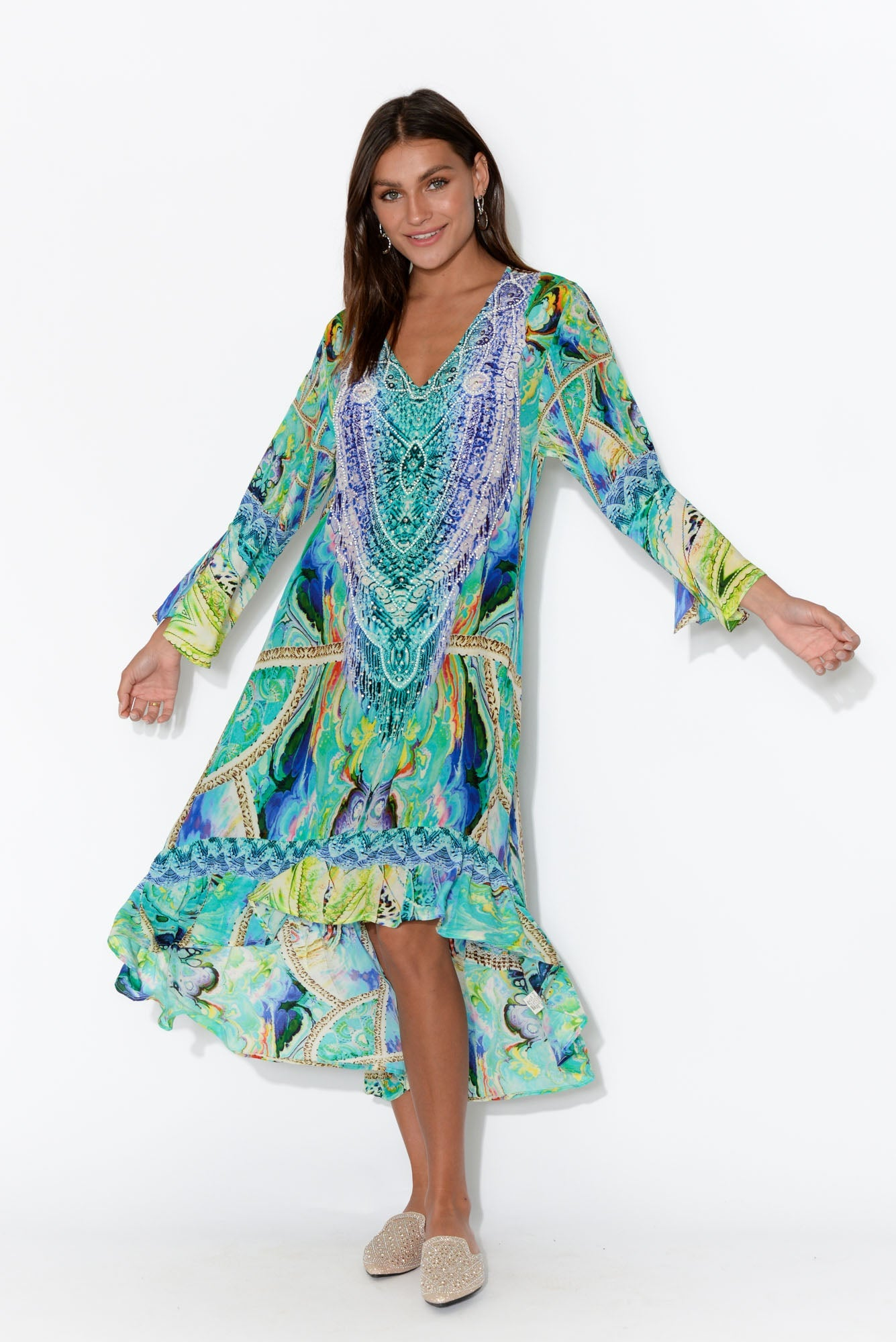 Blue Ocean Silk Frill Dress