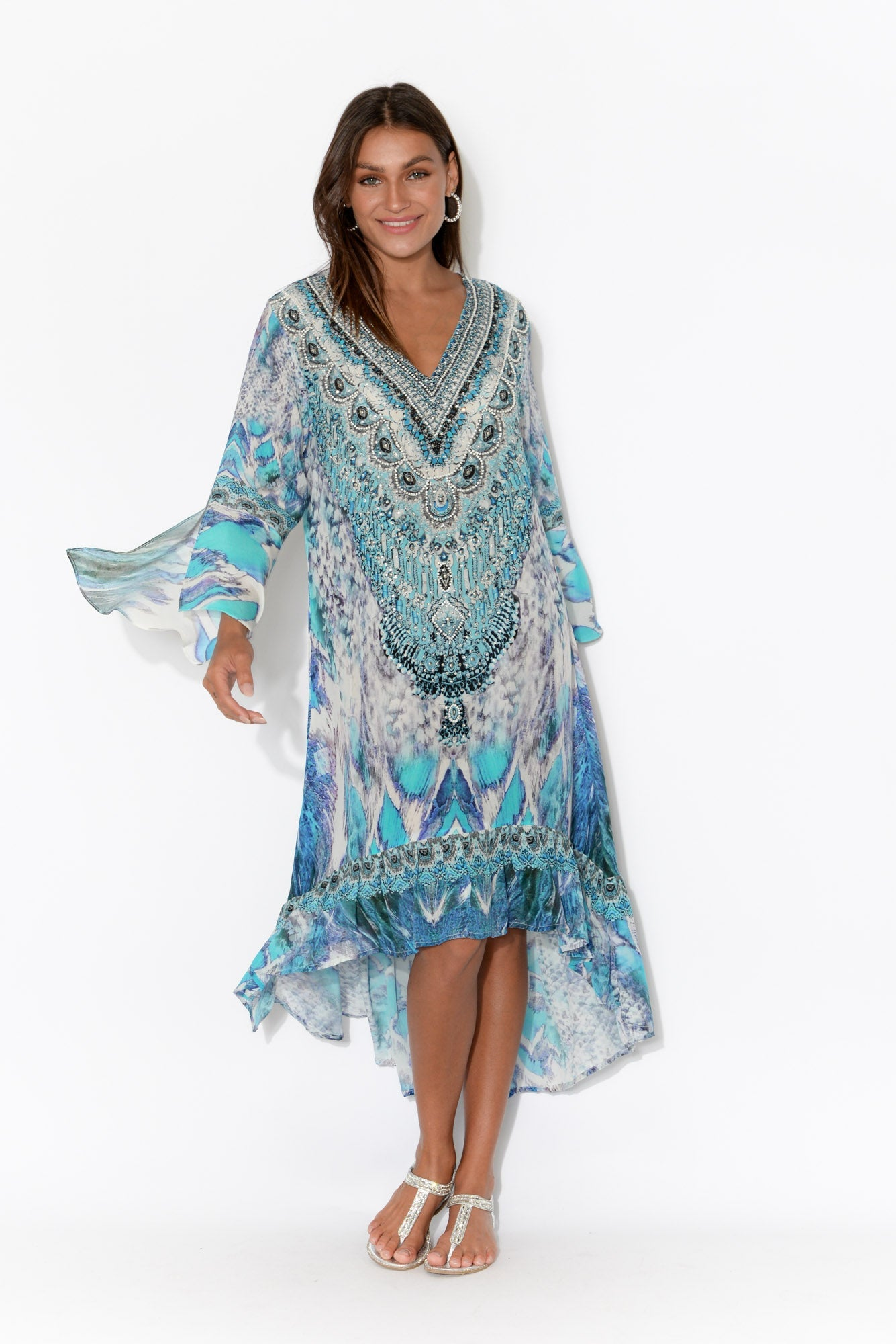Blue Paluma Silk Frill Dress