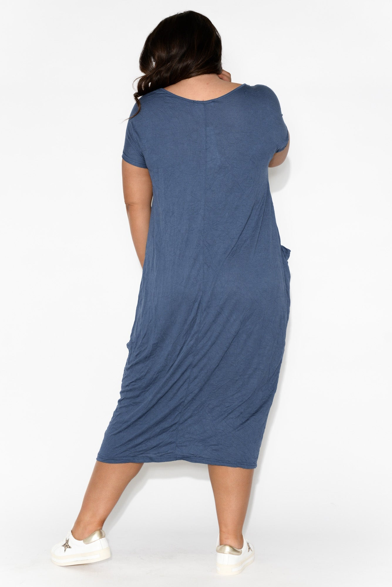 Blue Pocket Cotton Draped Dress