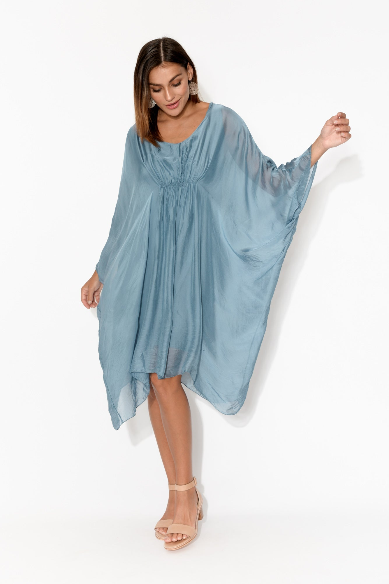 Blue Gathered Front Layer Tunic