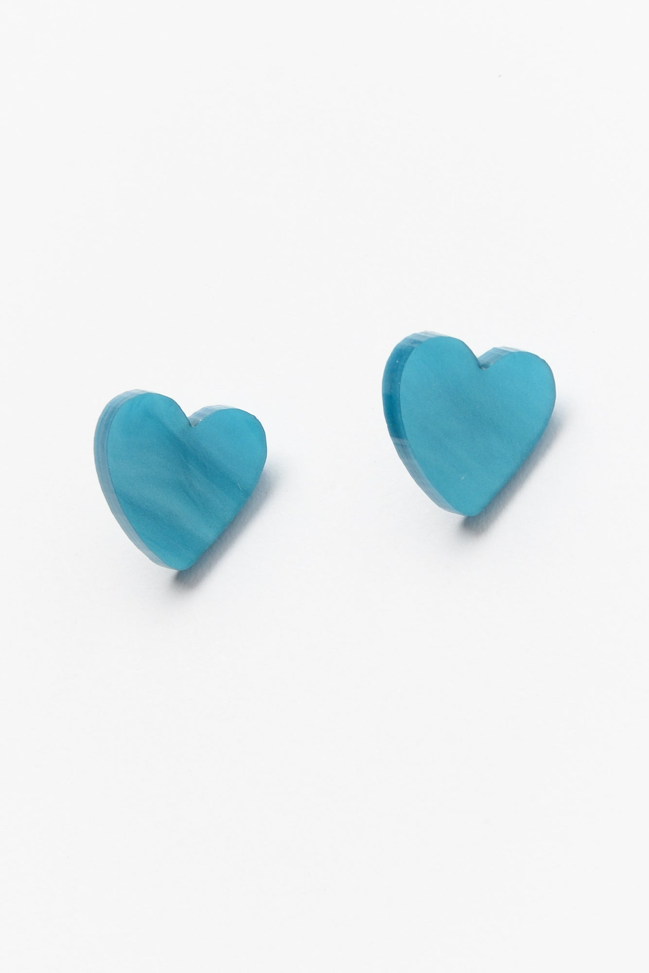 Blue Marble Heart Stud Earring