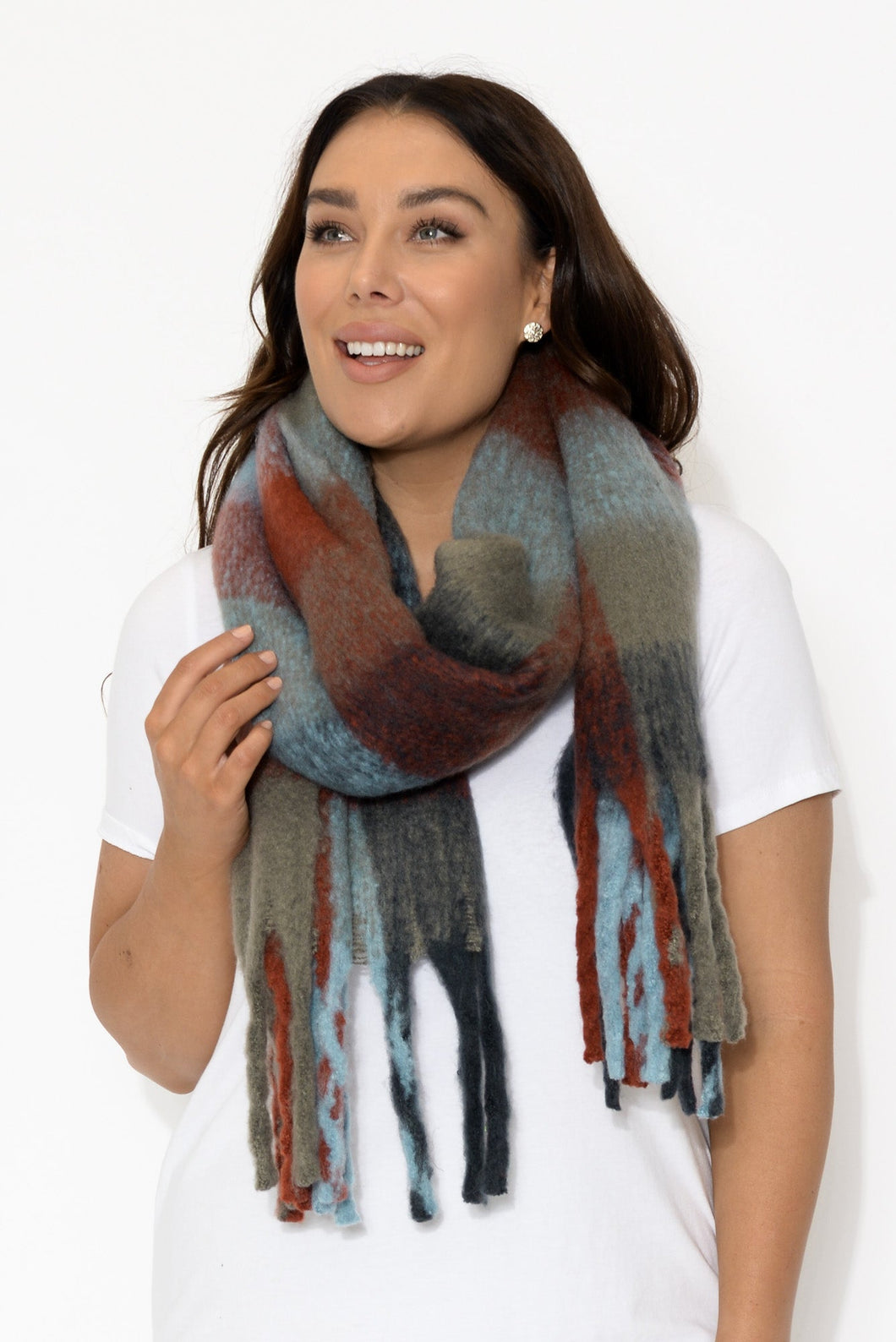 Blue and Red Plaid Scarf