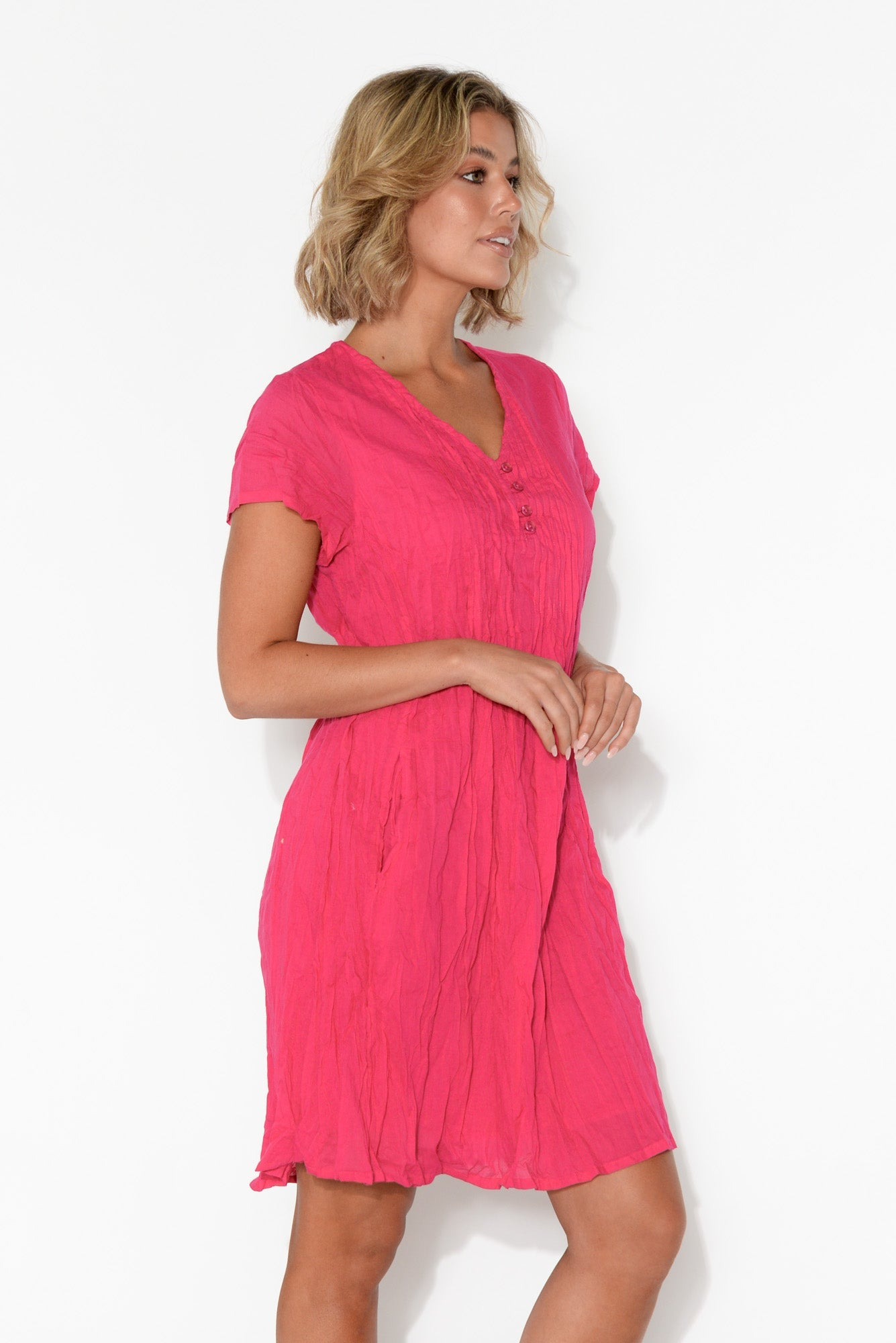 Bobbie Hot Pink Crinkle Cotton Dress