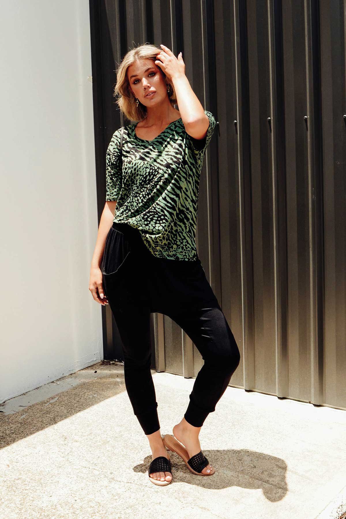 Boyfriend Green Tiger Relaxed Tee
