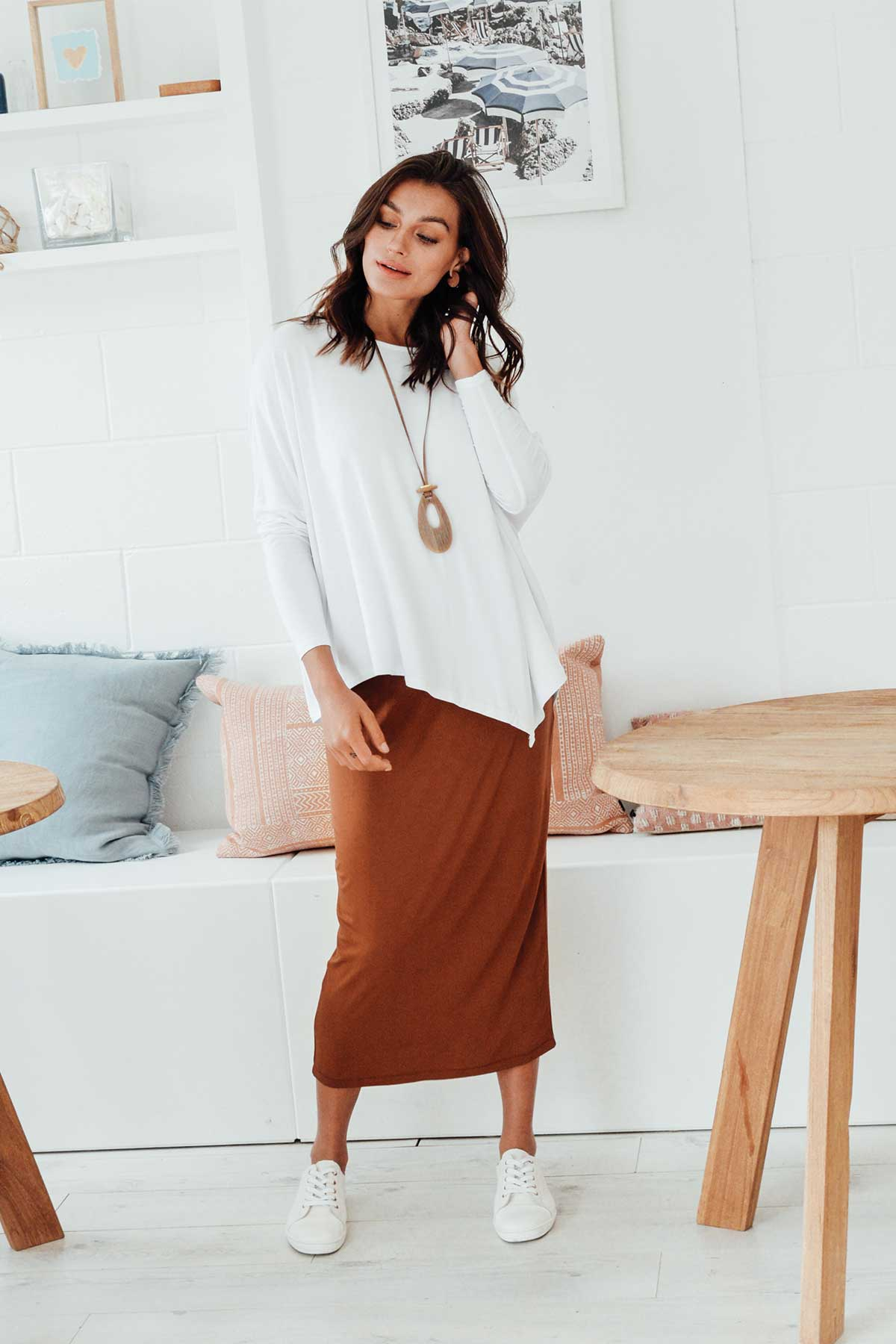 Bronze Bamboo Maxi Tube Skirt