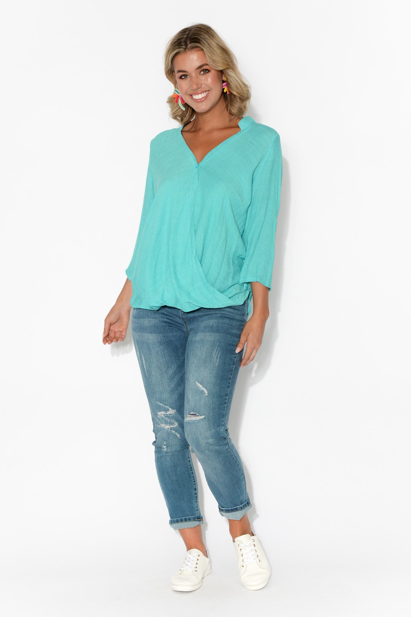 Cadence Turquoise Wrap Top