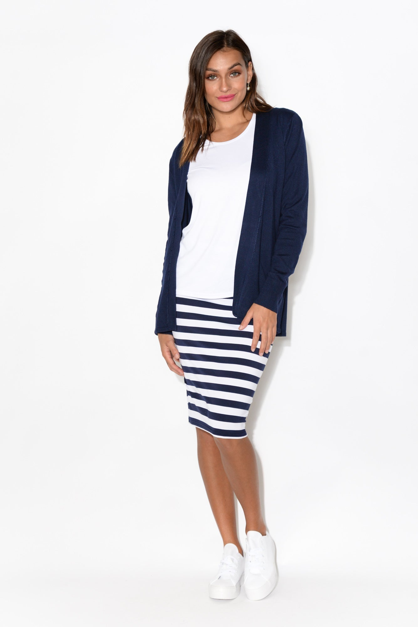 Lois Navy Stripe Bamboo Skirt