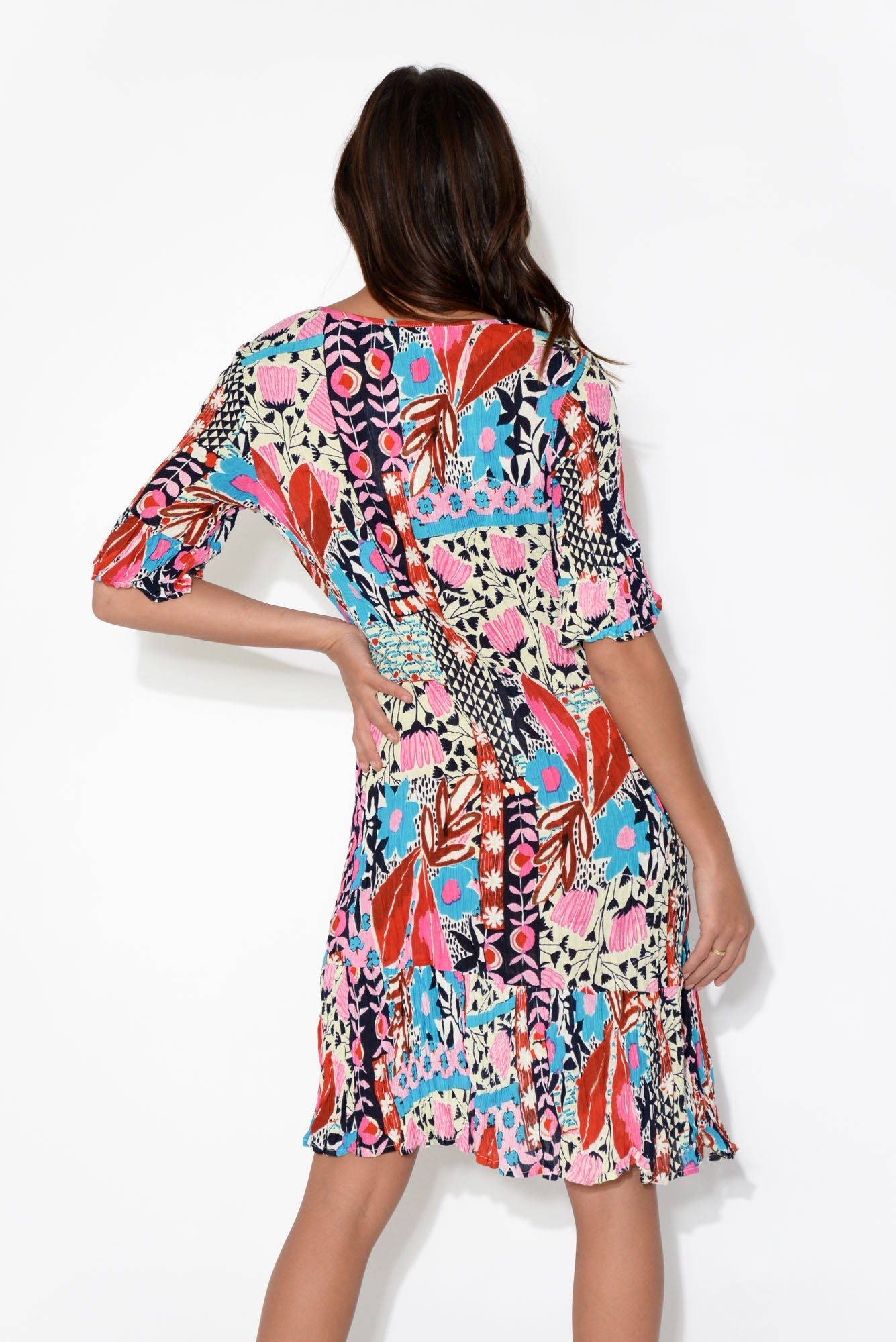 Calla Pink Abstract Floral Crinkle Dress