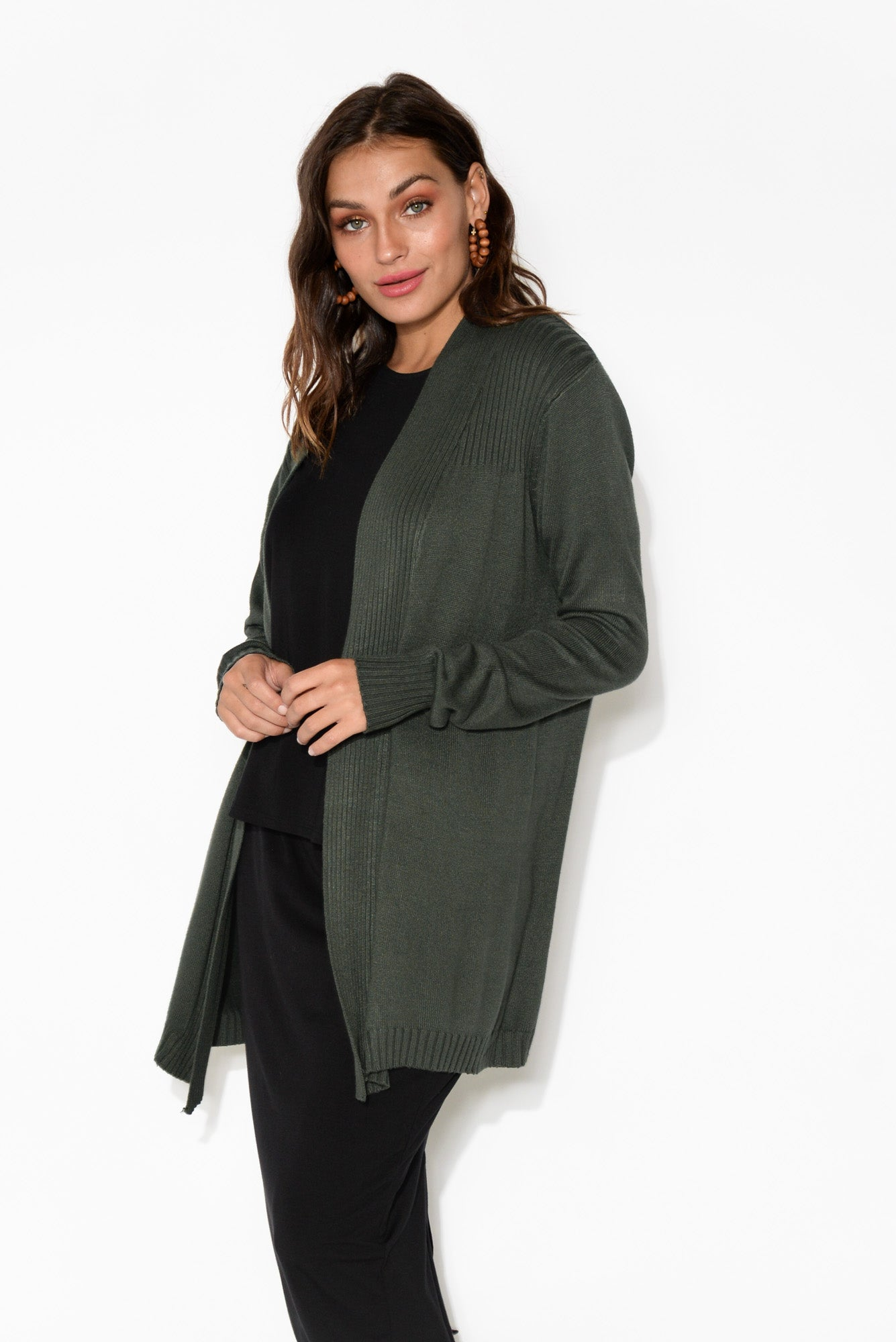 Campbell Emerald Green Knit Cotton Cardigan