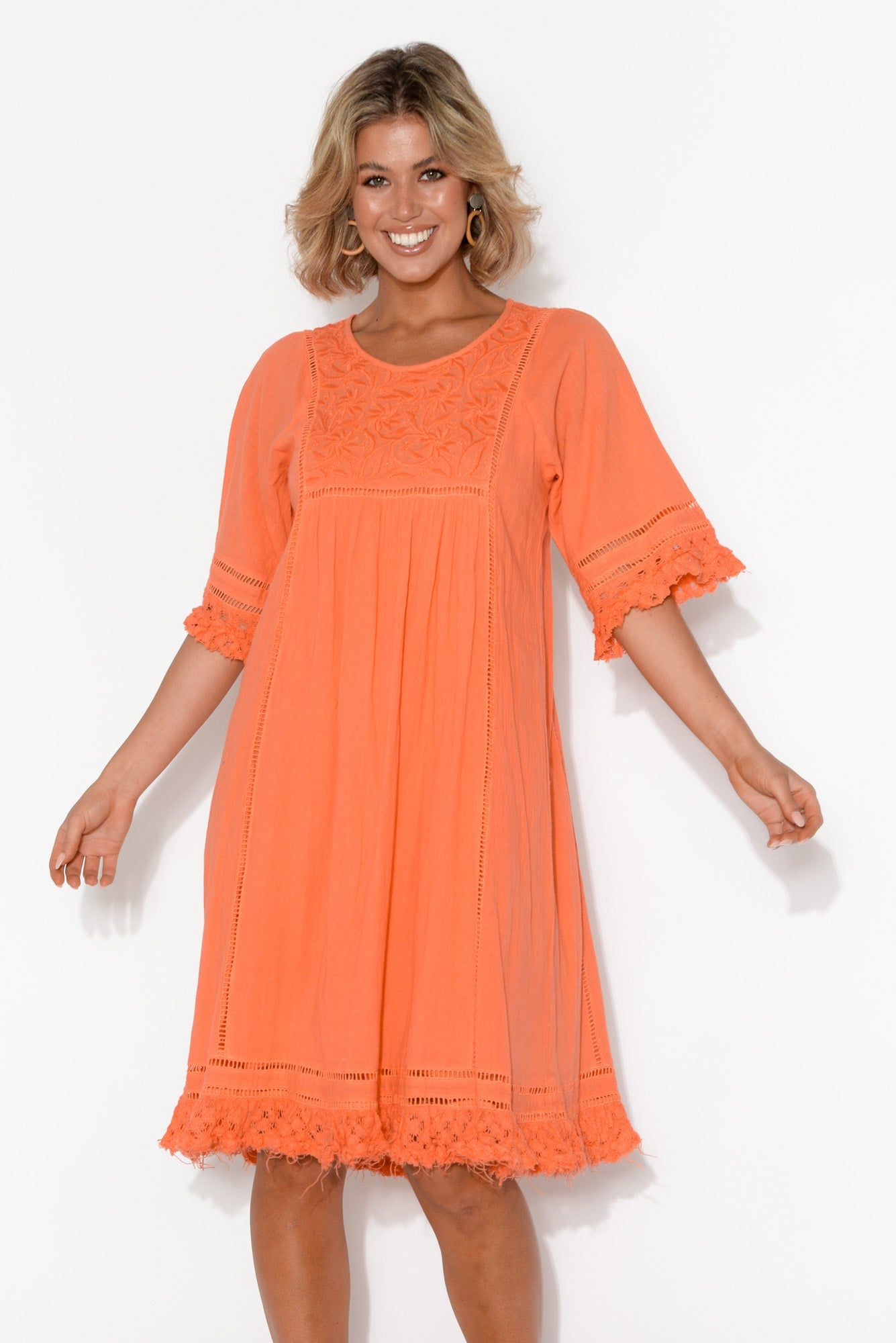 Candace Orange Crochet Cotton Dress