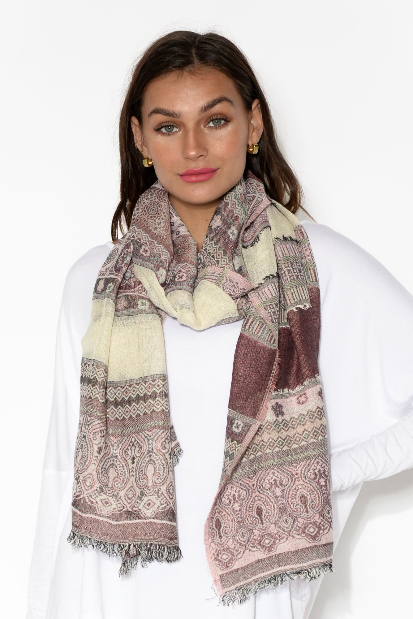 Carmel Dual Toned Abstract Jacquard Scarf