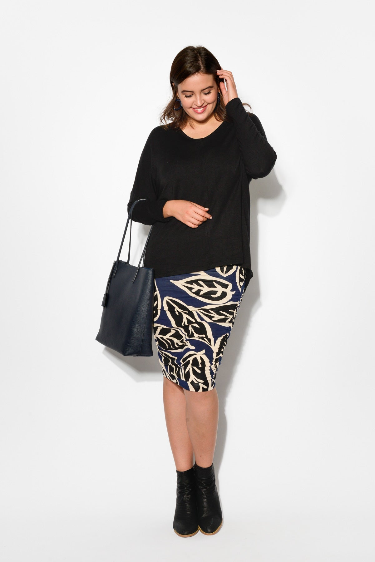 Navy Leaf Ruched Skirt - PQ - Blue Bungalow Online