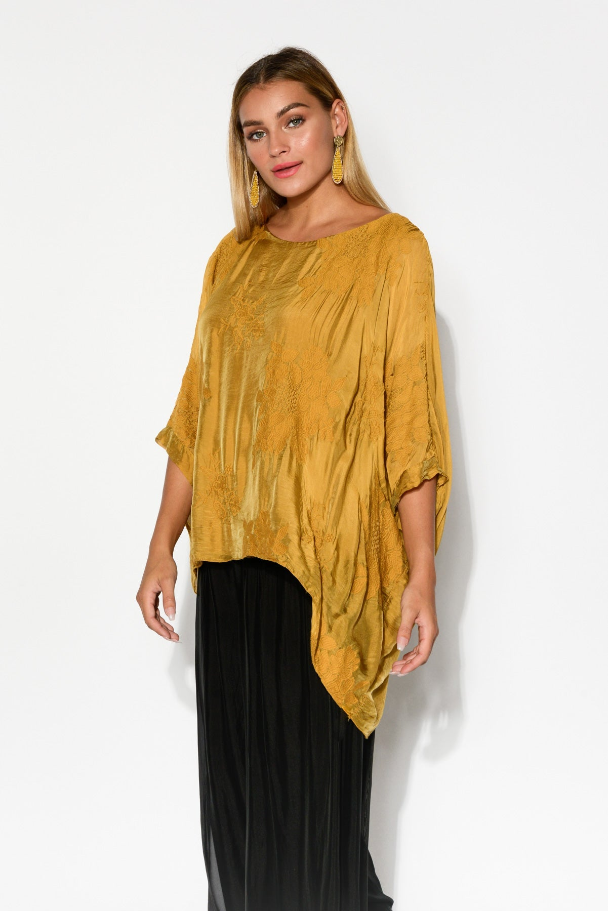 Caruso Gold Silk Layer Top – Blue Bungalow NZ