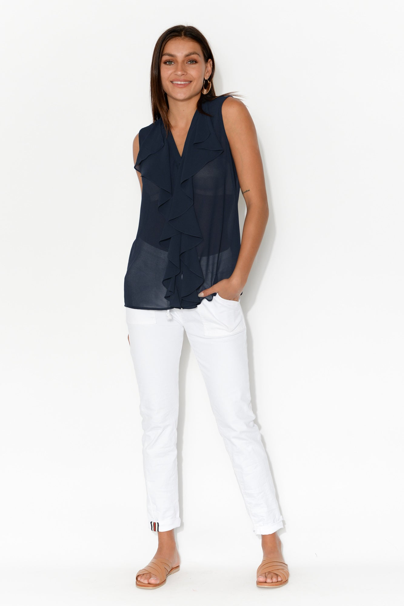 Cascade Navy Sleeveless Ruffle Top