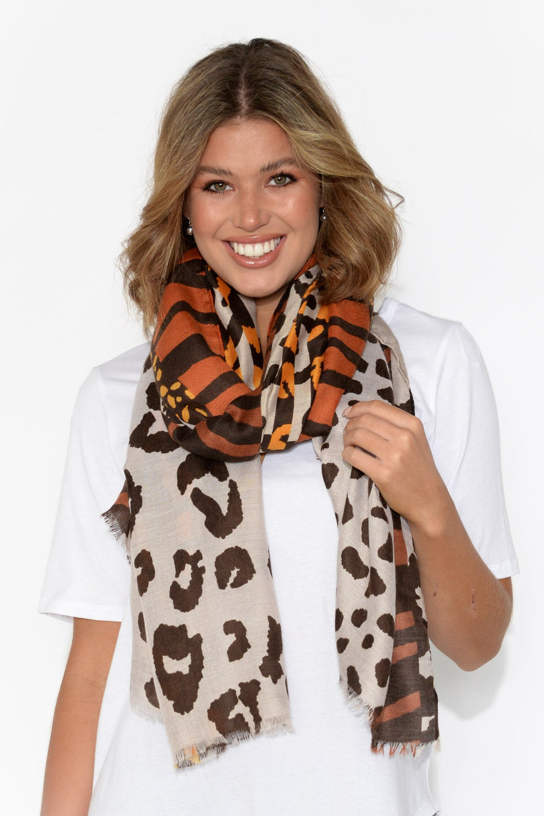 Casey Beige Abstract Leopard Scarf