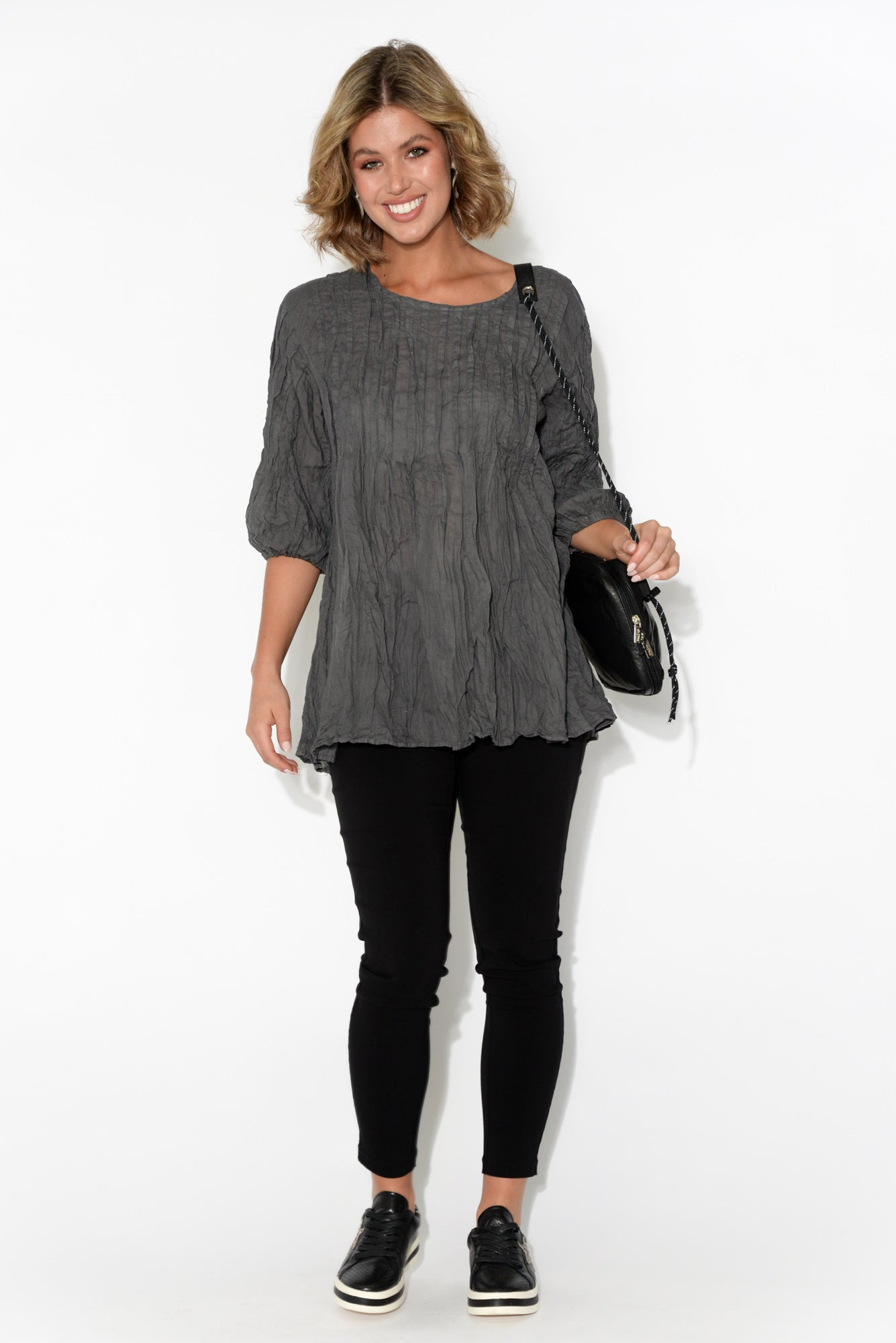 Charcoal Crinkle Cotton Tunic Top
