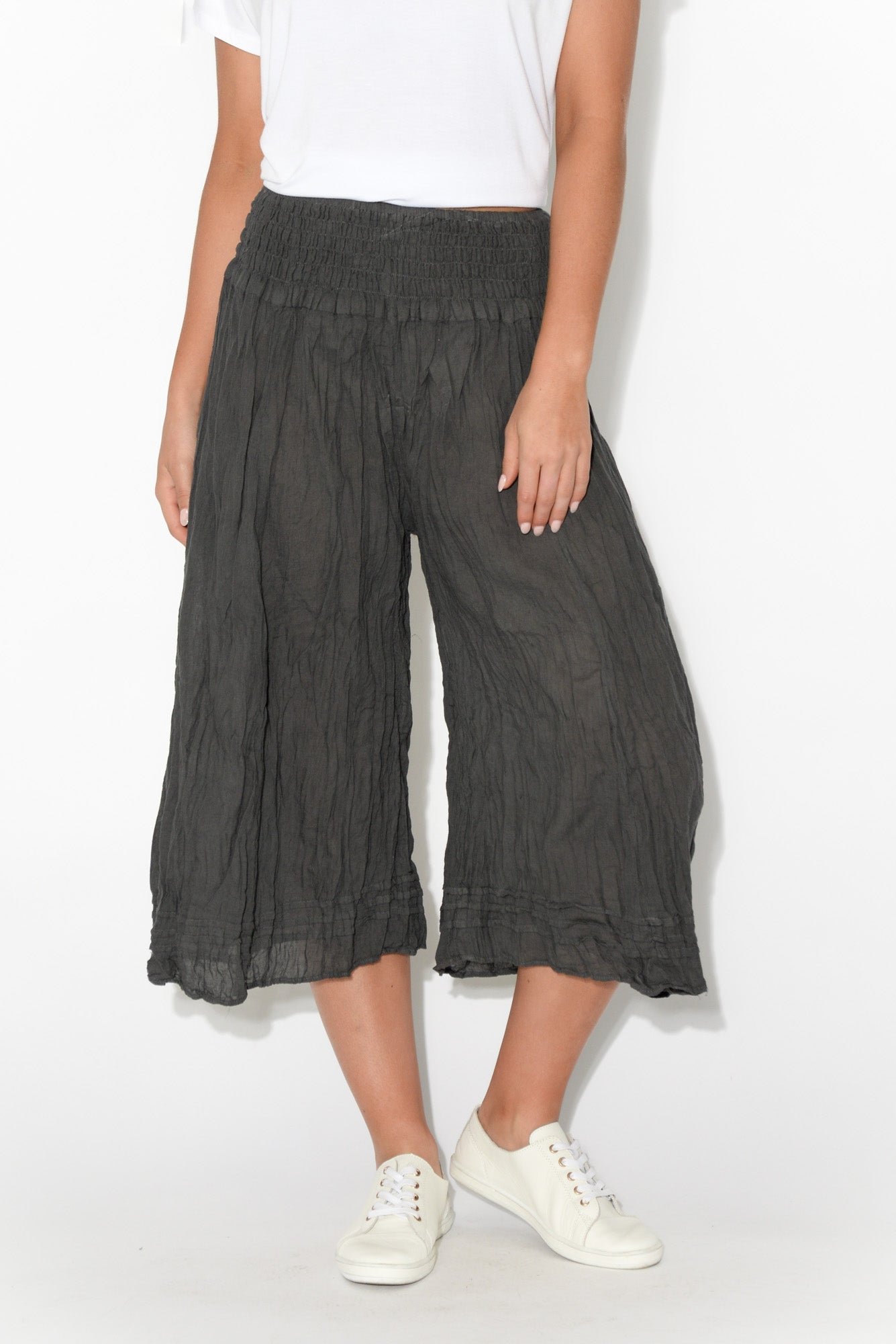 Charcoal Cropped Crinkle Cotton Pant