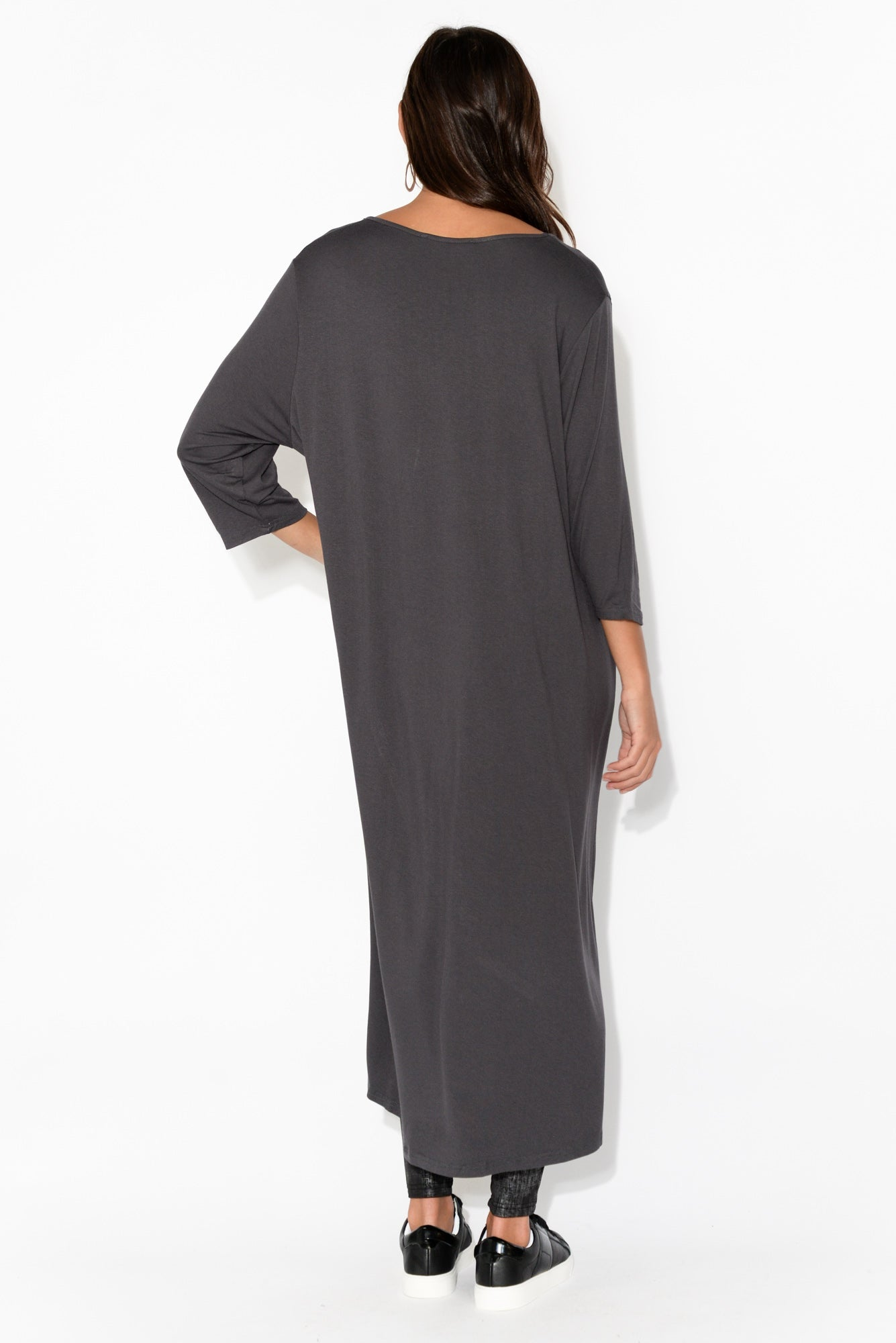 Charcoal Curved Hi Lo Tunic Top