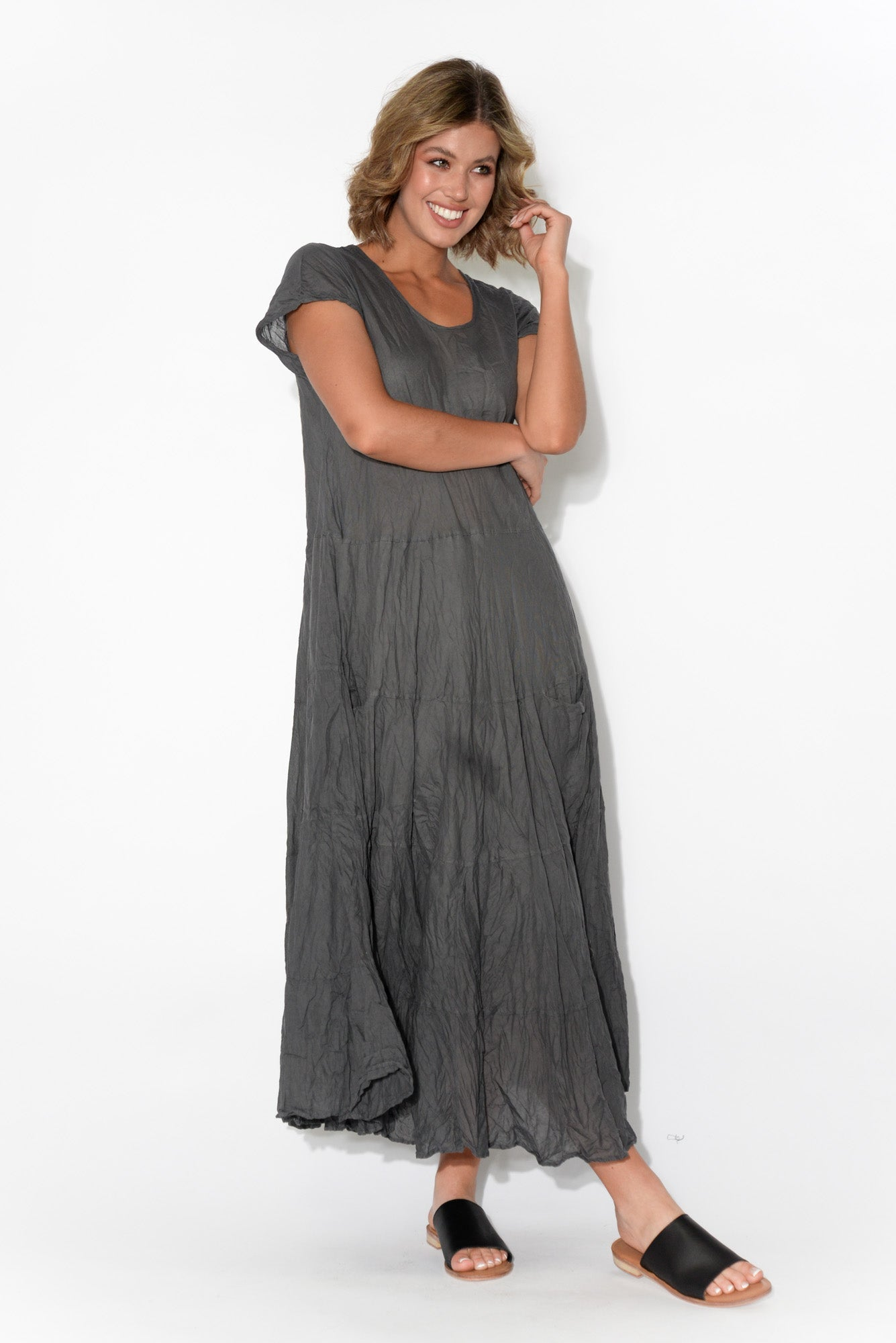 Charcoal Flared Crinkle Cotton Dress