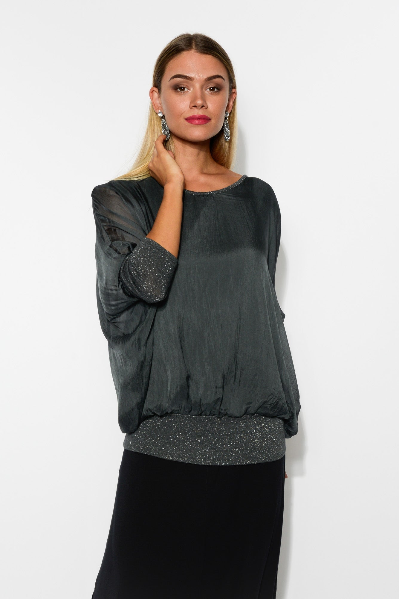 Charcoal Shimmer Silk Layer Top