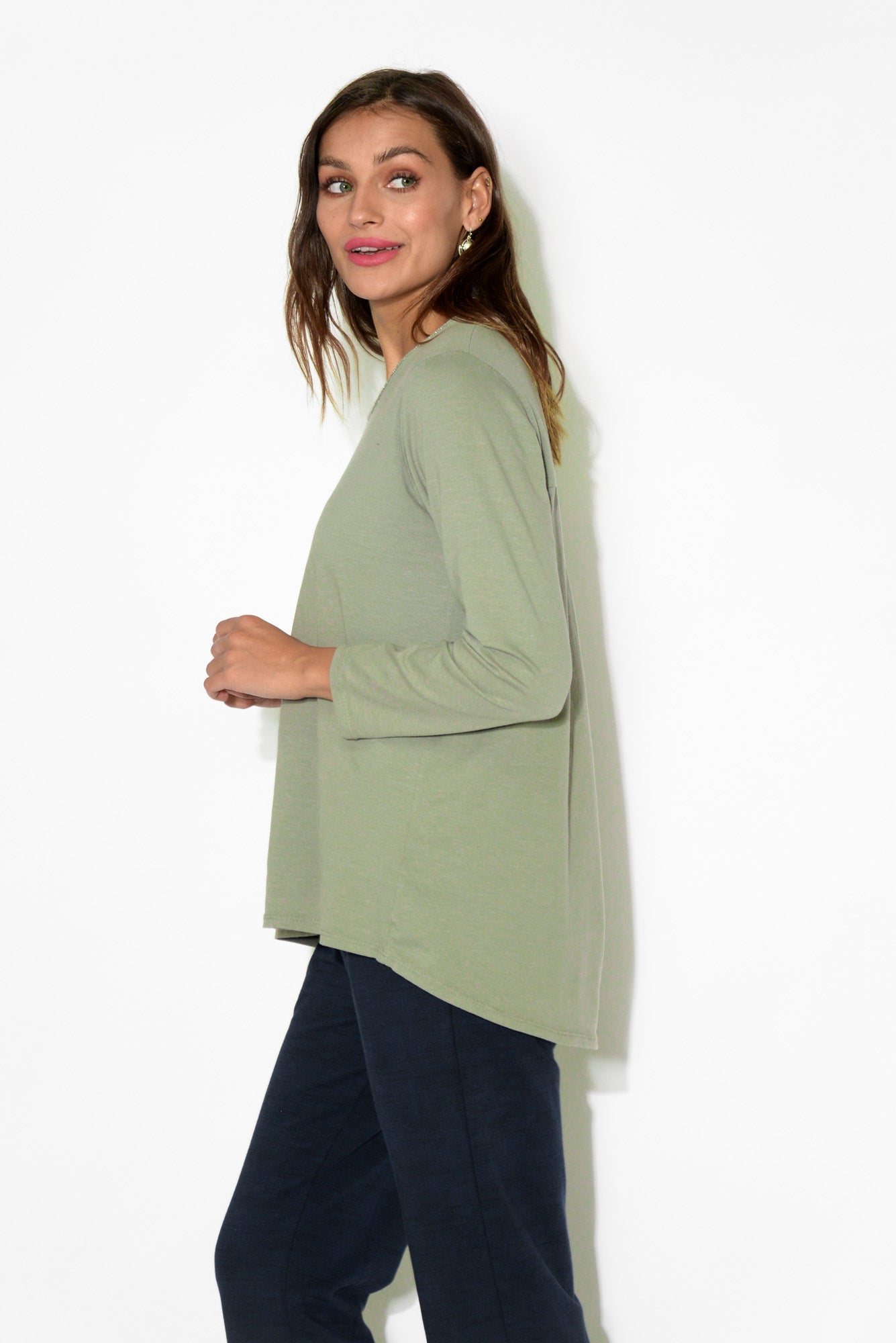 Chiara Khaki Long Sleeve Top