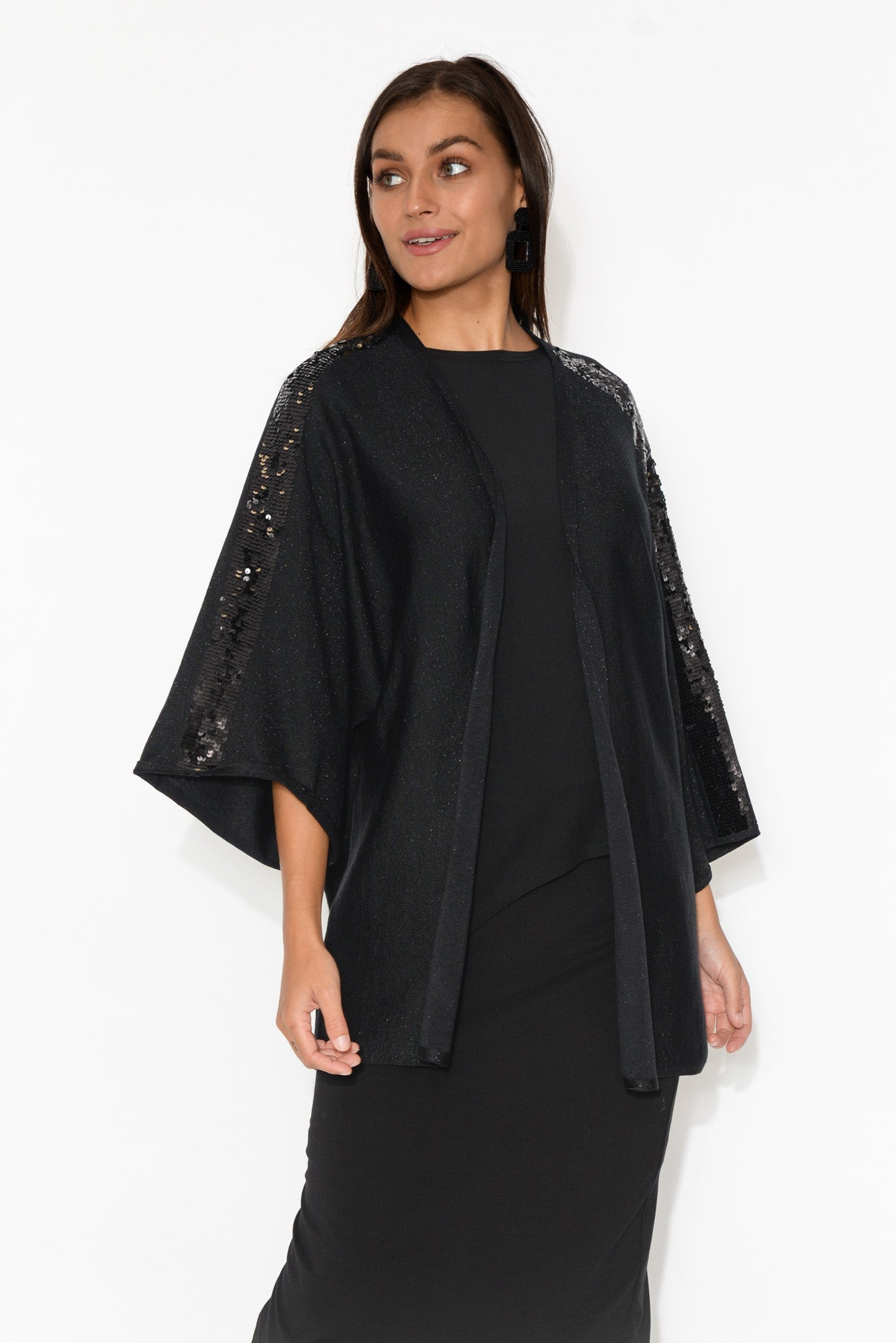 Cicely Black Sequin Cardigan