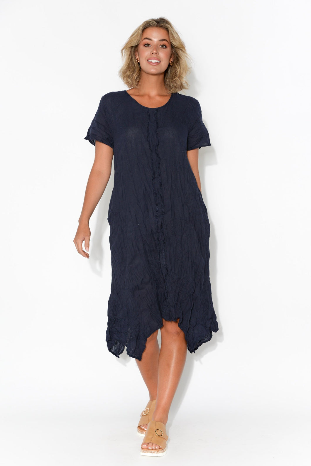 Claire Navy Crinkle Cotton Dress