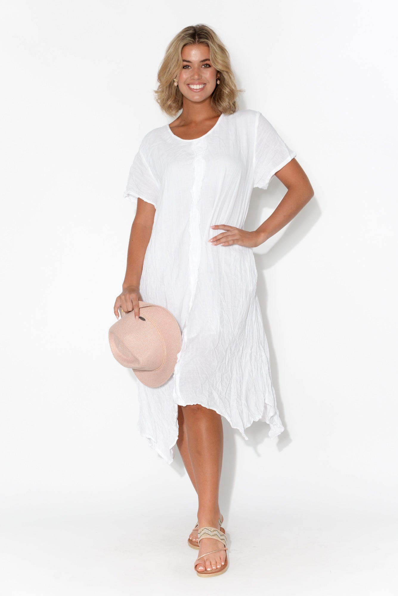 Claire White Crinkle Cotton Dress