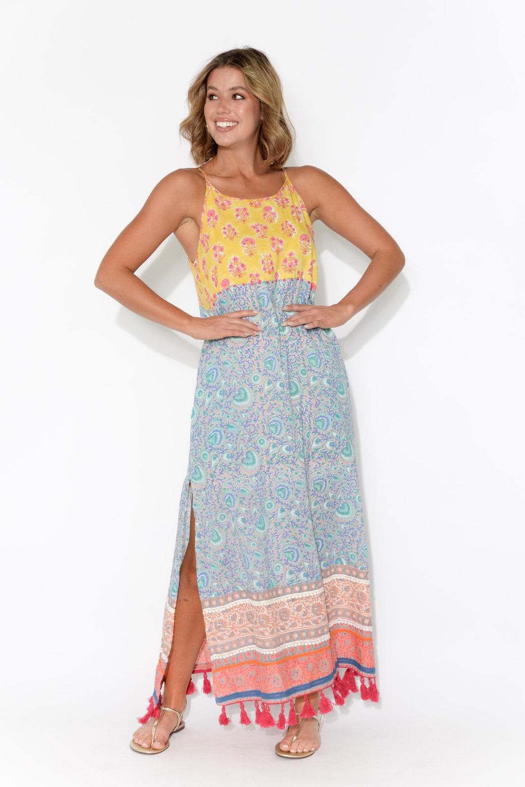 Claudia Yellow and Blue Paisley Sleeveless Dress