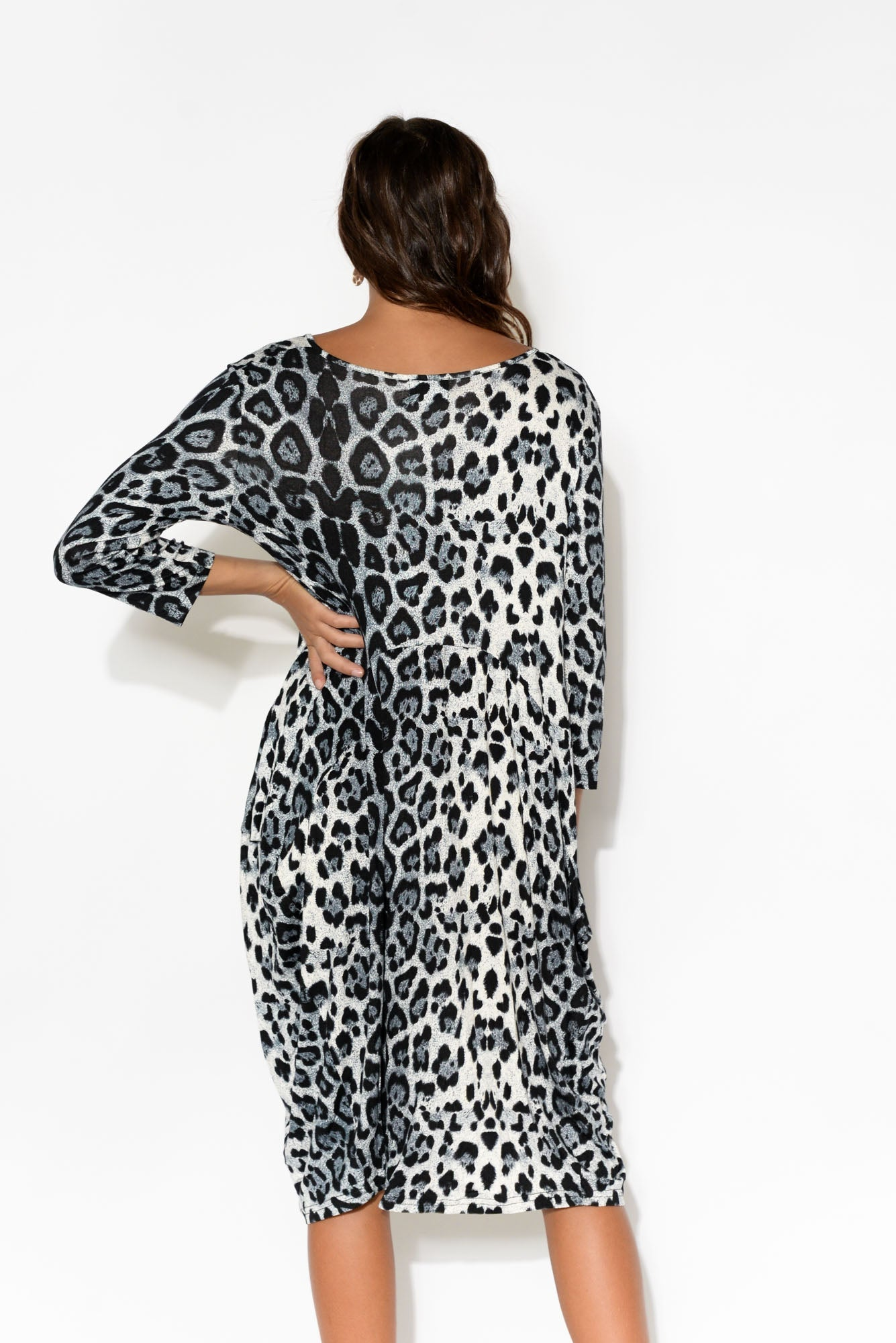 Coco Grey Leopard Sleeved Dress