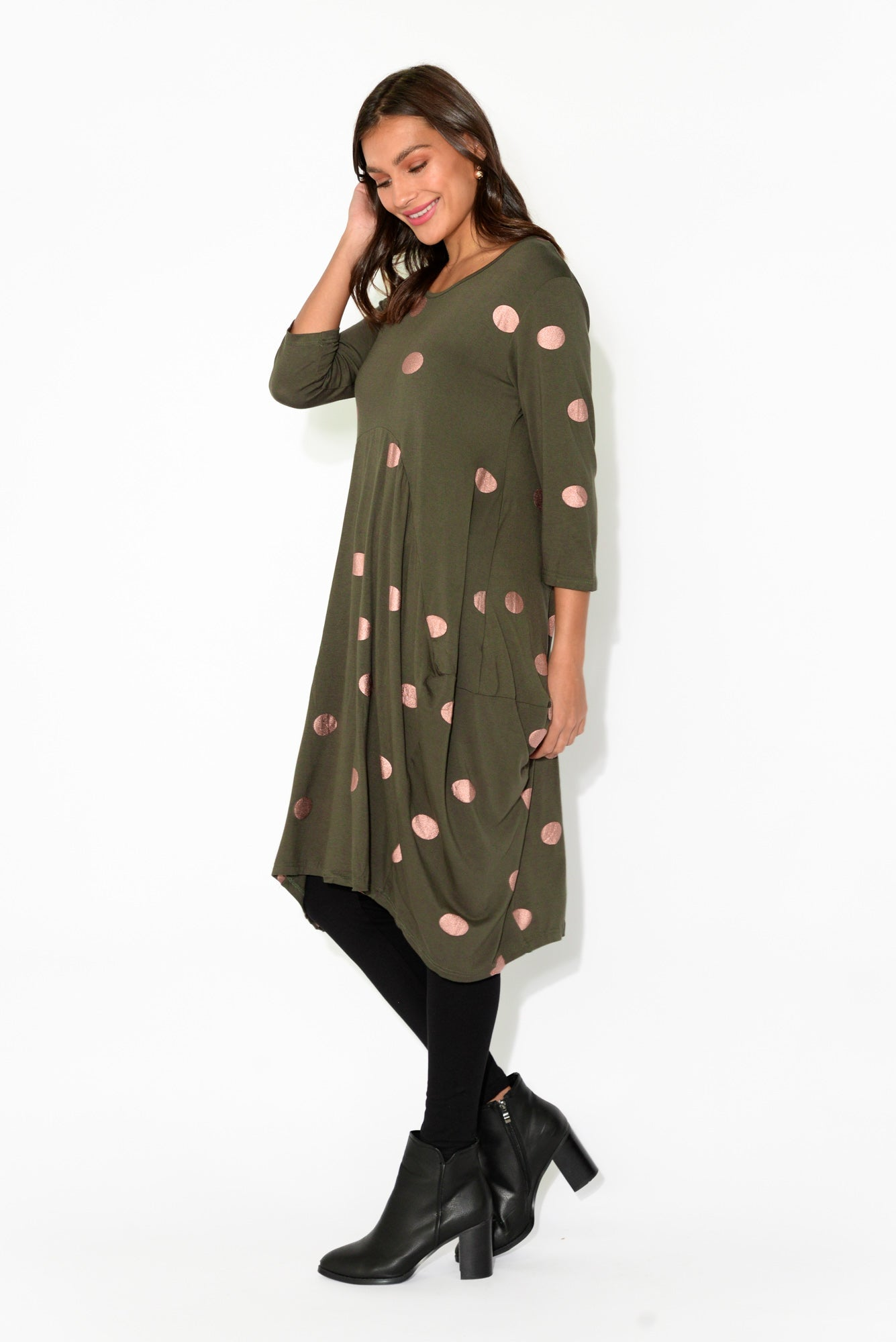 Coco Khaki Spot Sleeved Dress