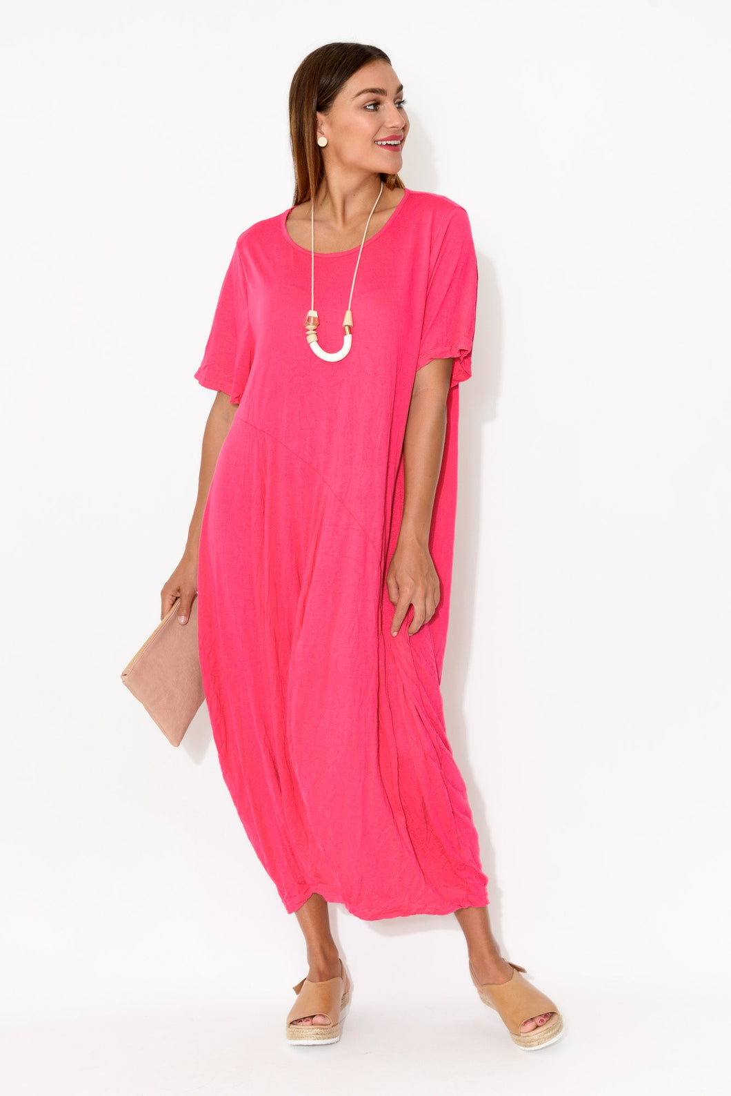 Connor Pink Cotton Midi Dress