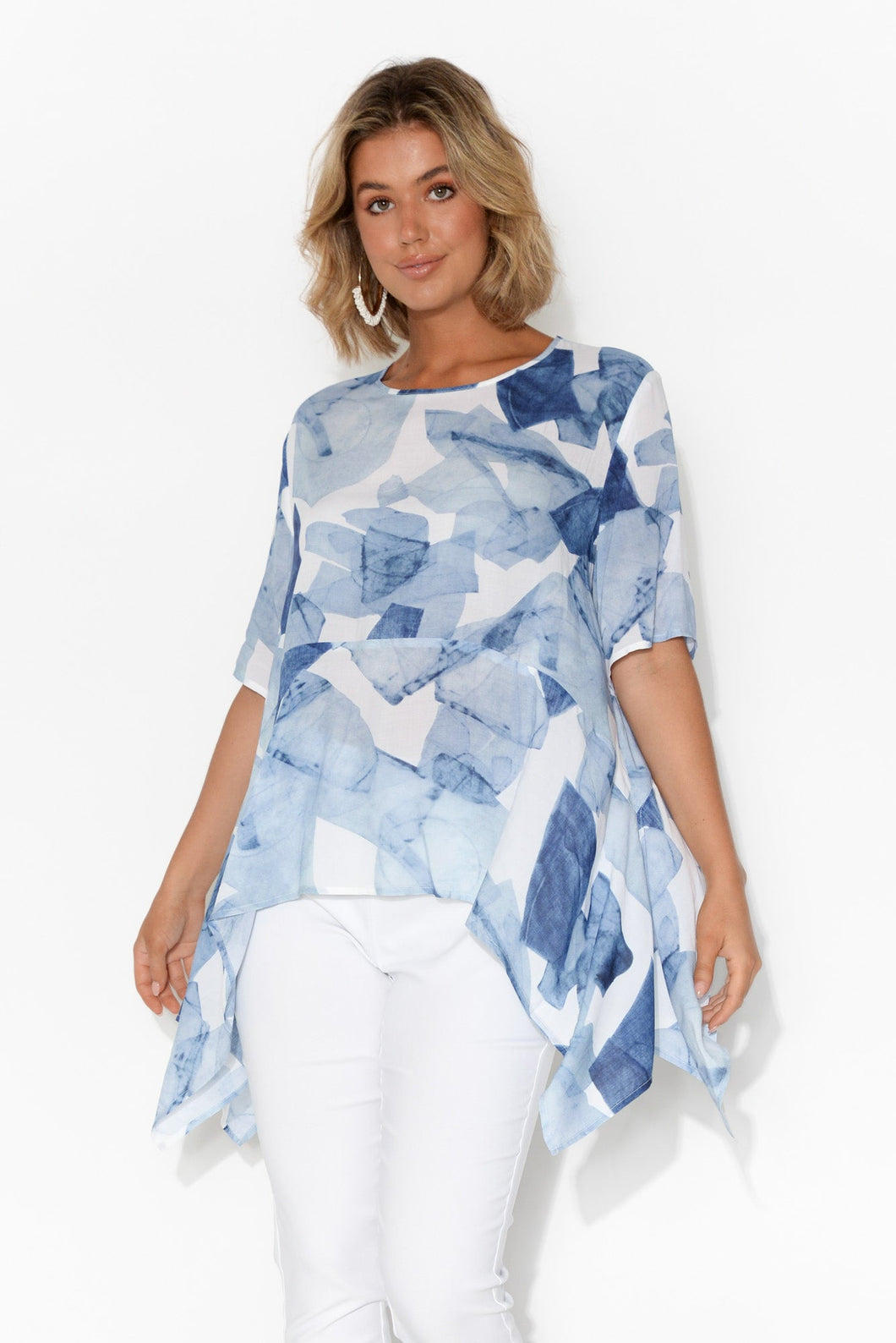 Corina Blue Abstract Top
