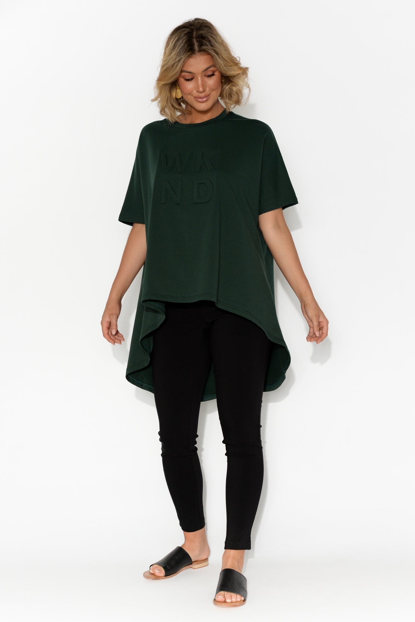 Cosima Forest Green Cotton Swing Top