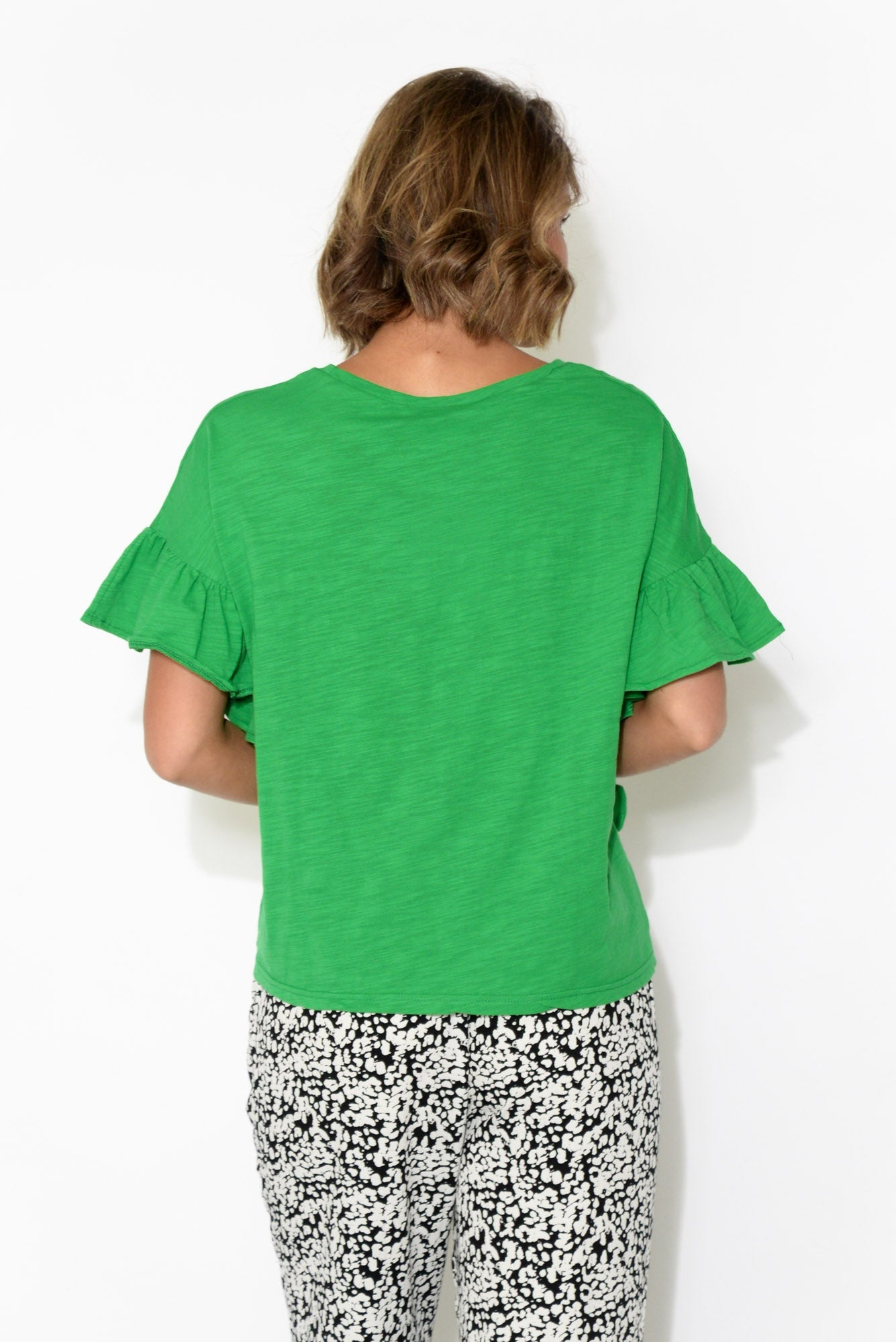 Cozumel Green Cotton Slub Ruffle Top